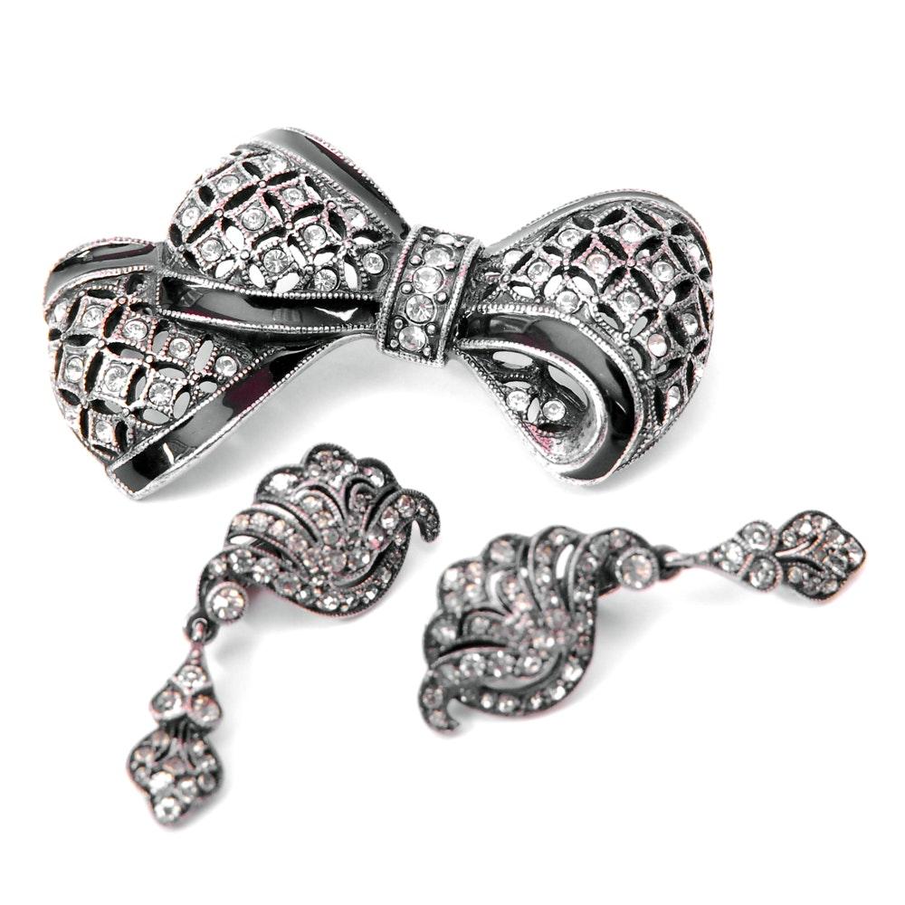 935 Silver Rhinestone Brooch and Costume Rhinestone Earrings