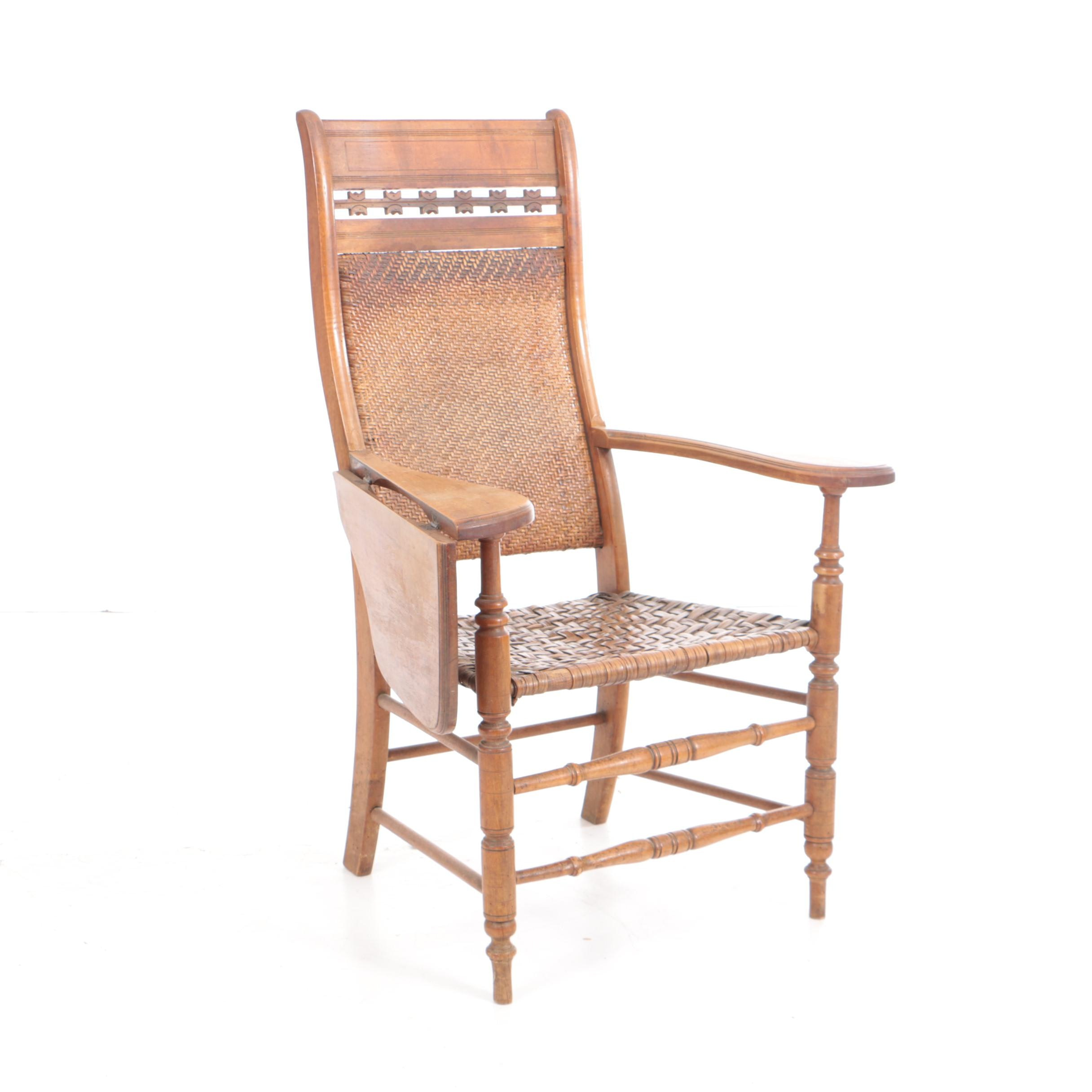 Antique Late Victorian Writing-Arm Chair with Woven Back and Seat