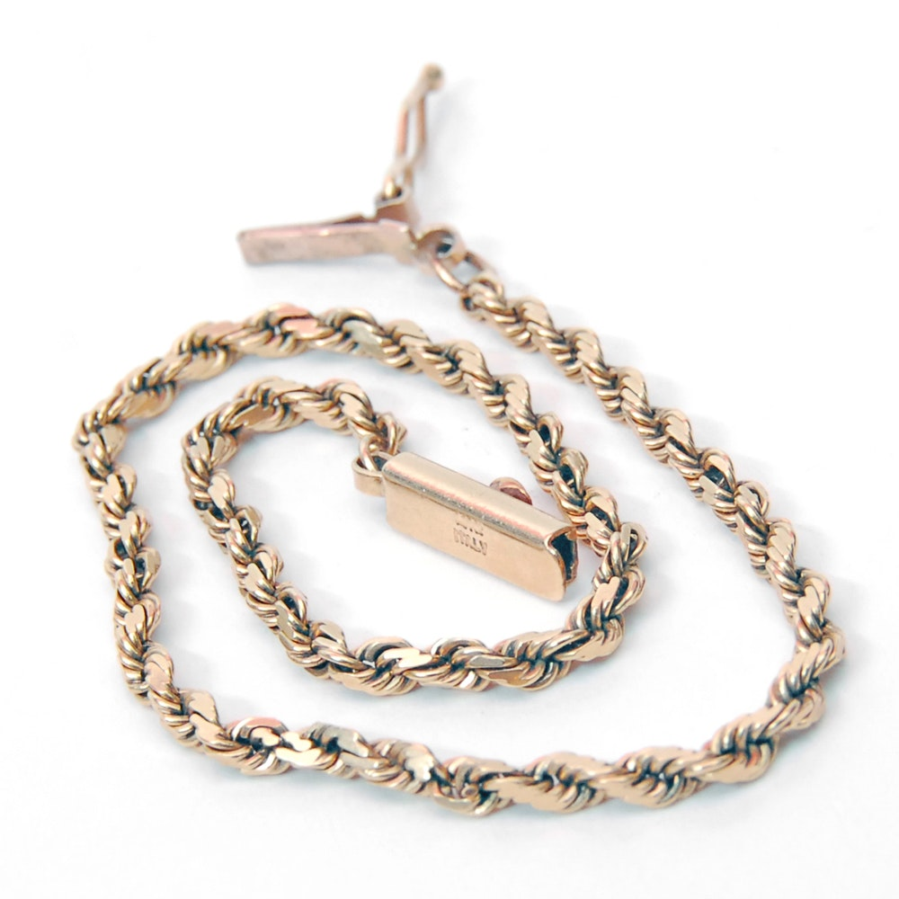 14K Yellow Gold Rope Link Bracelet