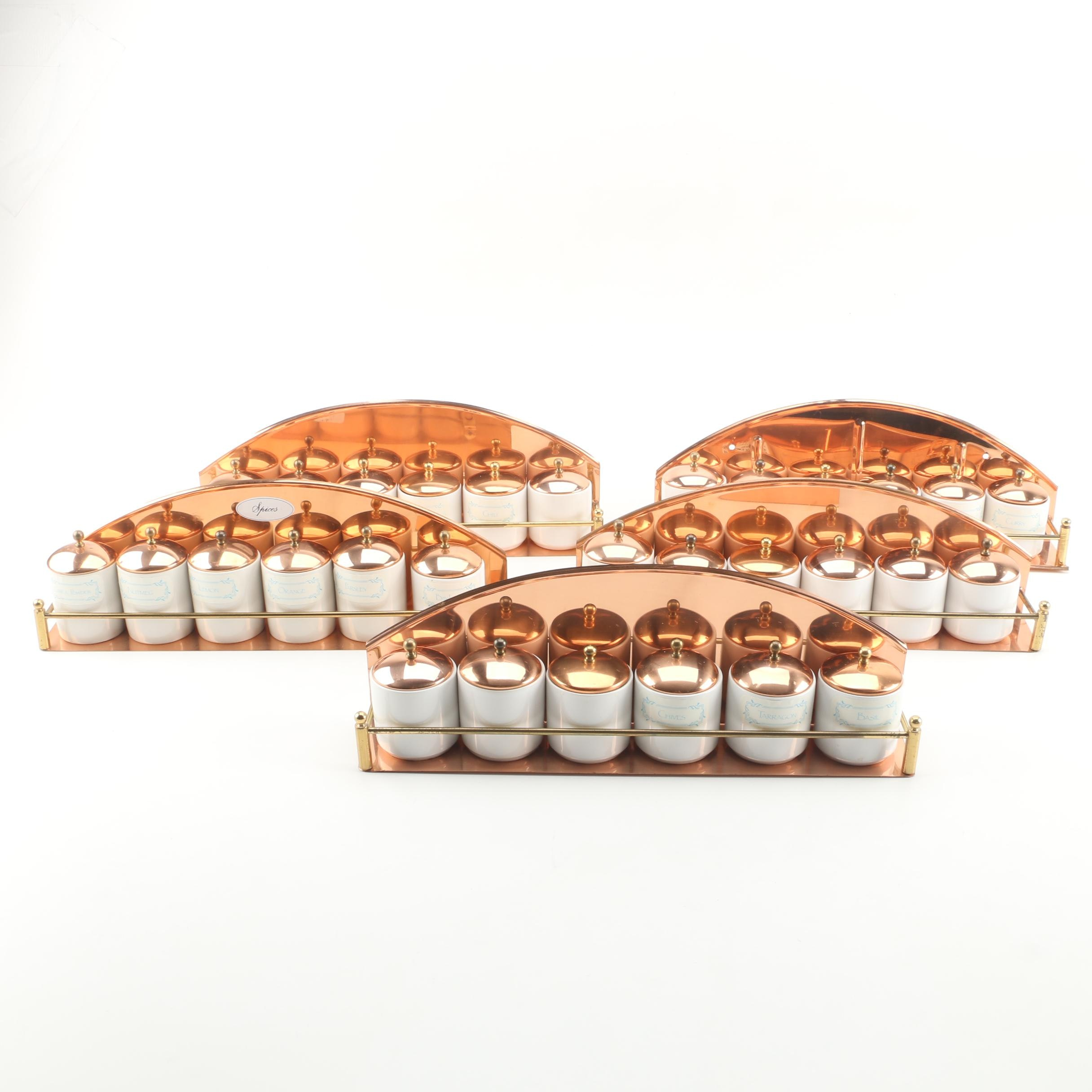 Vintage Copper Spice Racks with Ceramic Apothecary Style Spice Jars