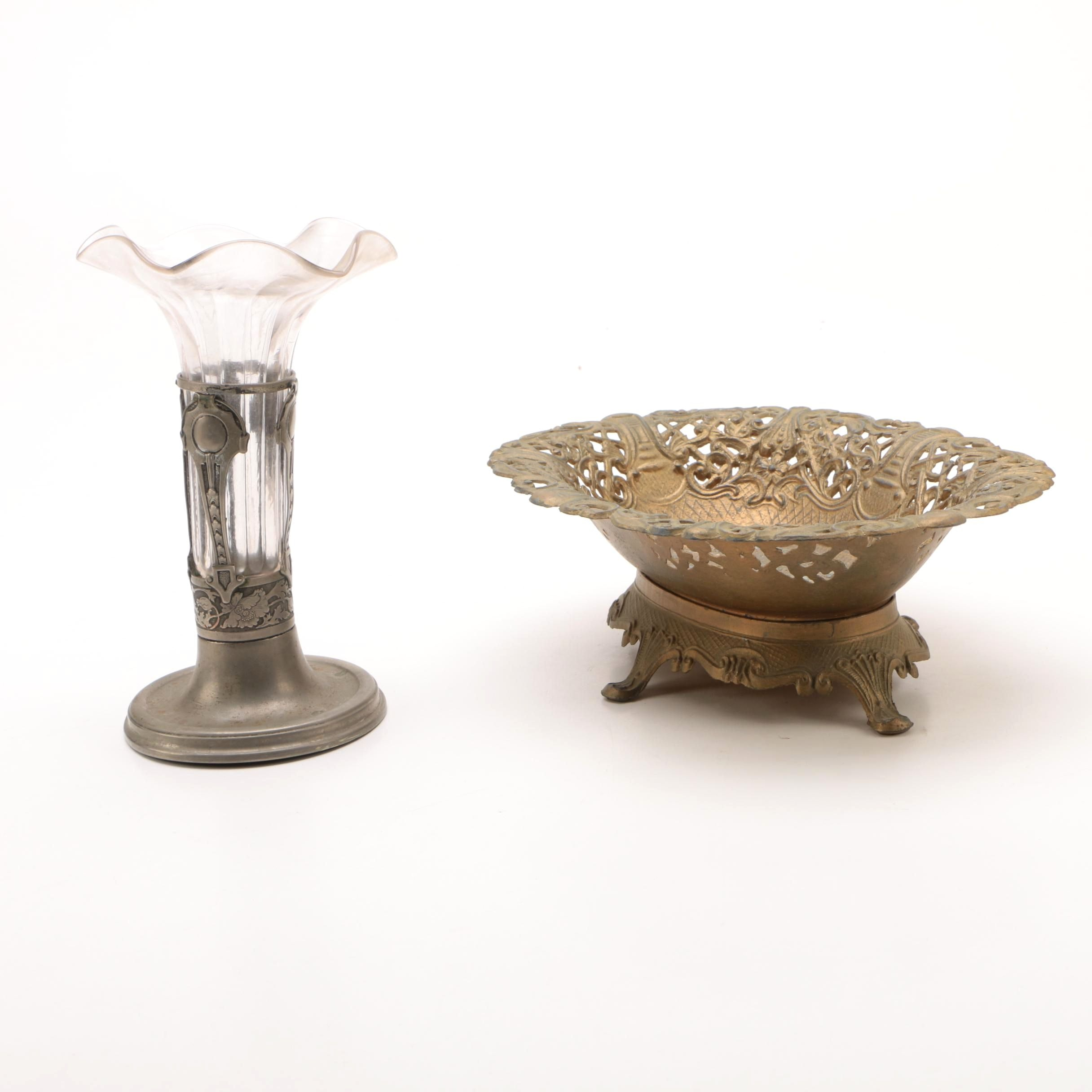Art Nouveau Glass and Silver Tone Bud Vase with Reticulated Brass Bowl