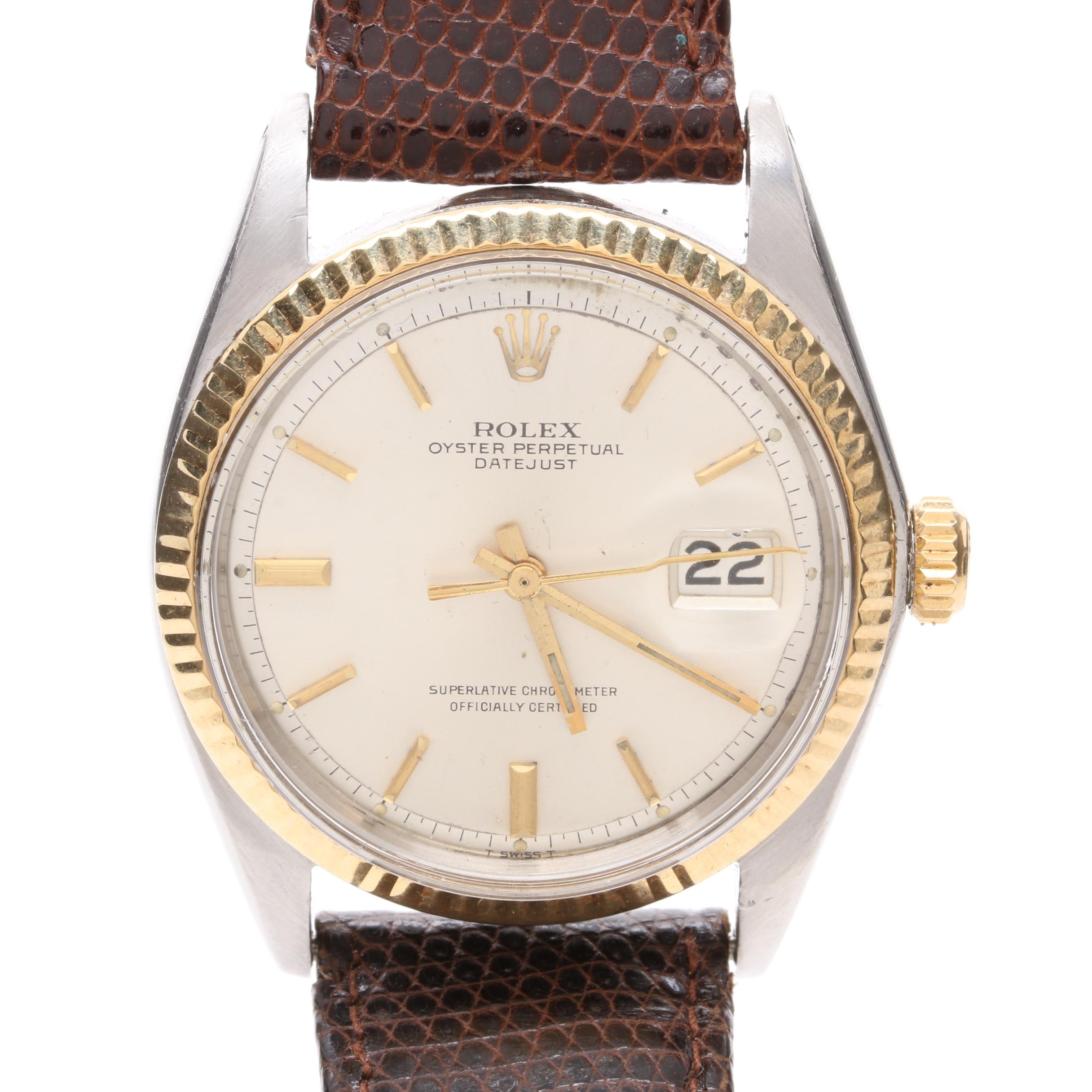 Circa 1969 Rolex Stainless Steel and 18K Yellow Gold Datejust Wristwatch