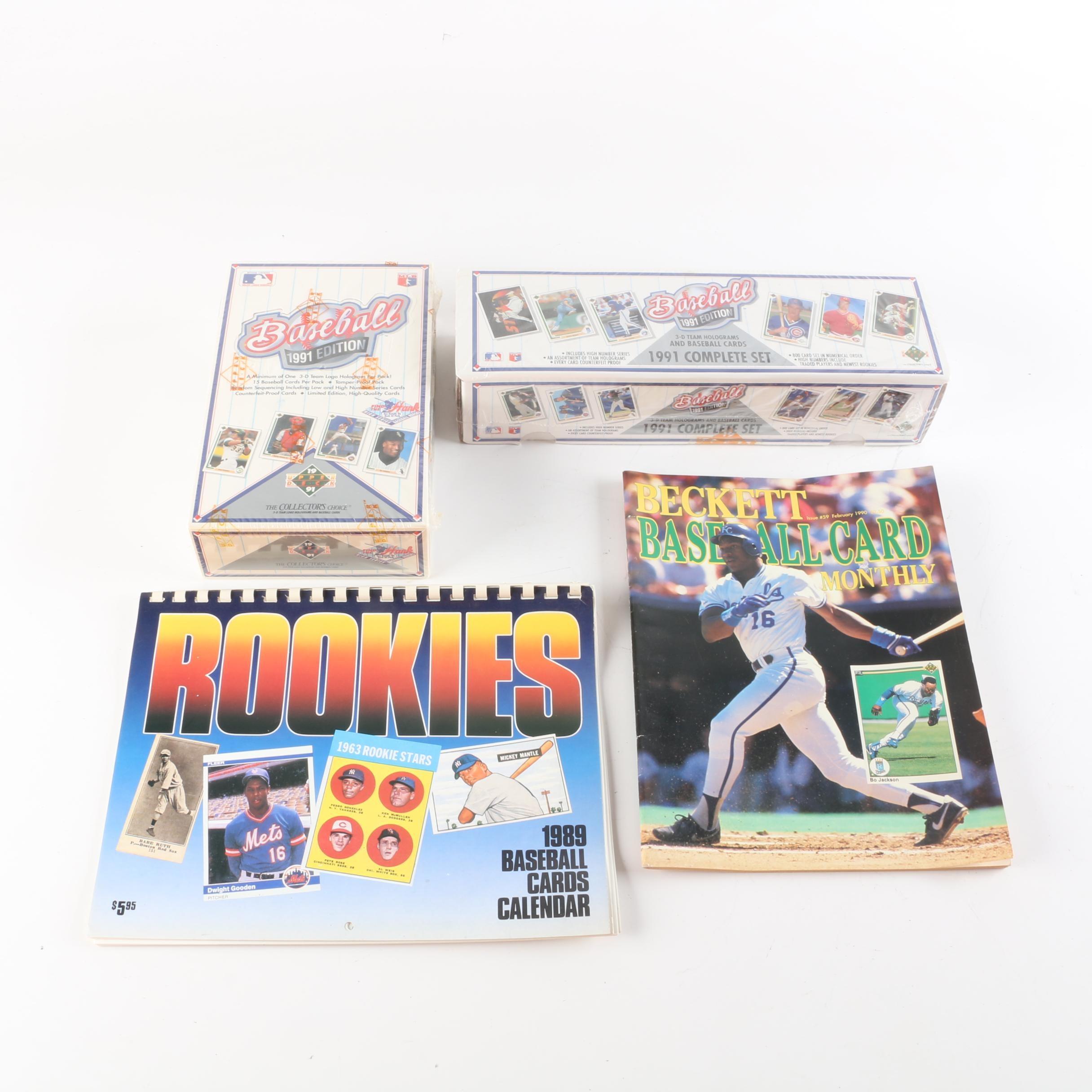 1991 Baseball Cards, 1989 Rookies Calendar, and 1990 Beckett Magazine