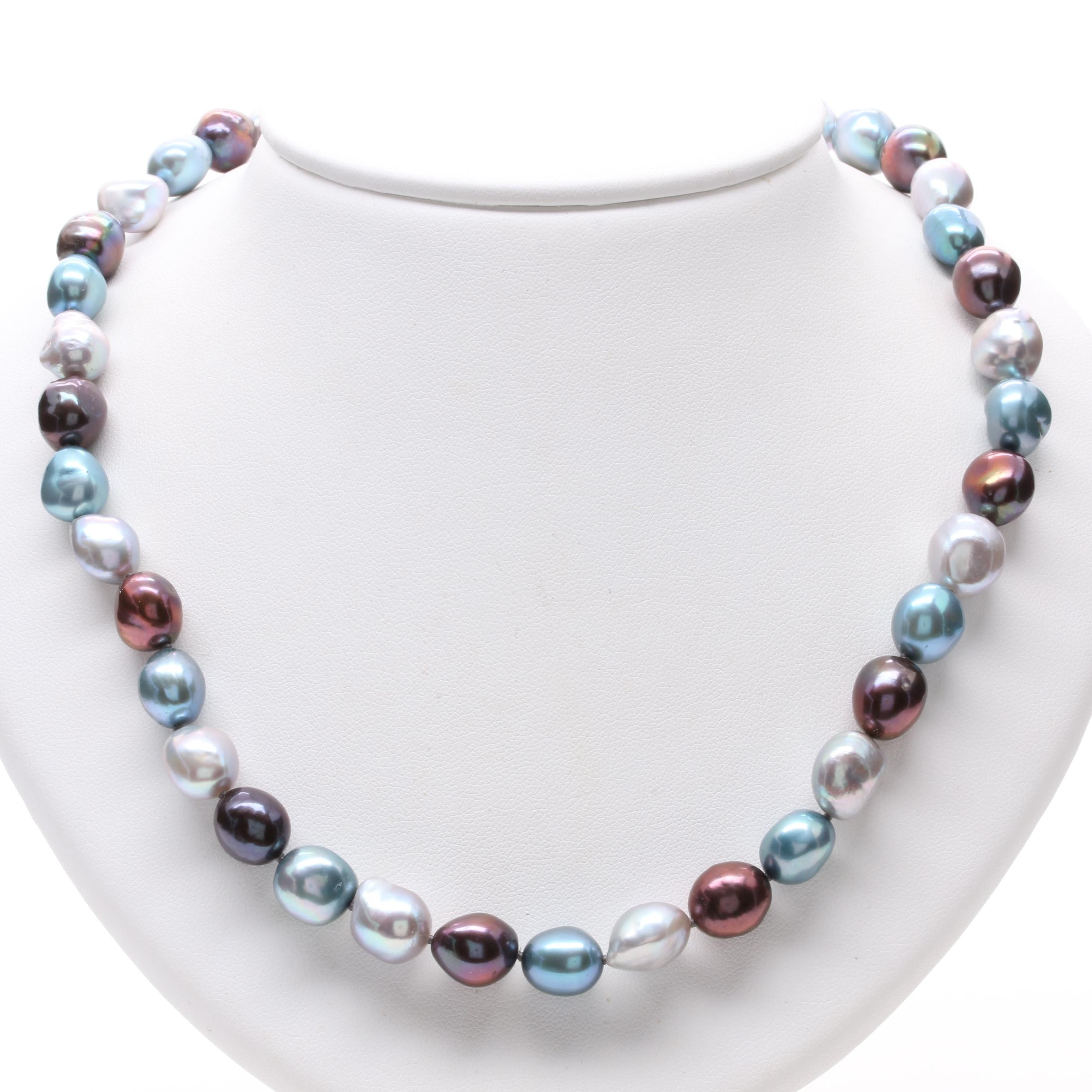 Sterling Silver Cultured Pearl and Diamond Necklace