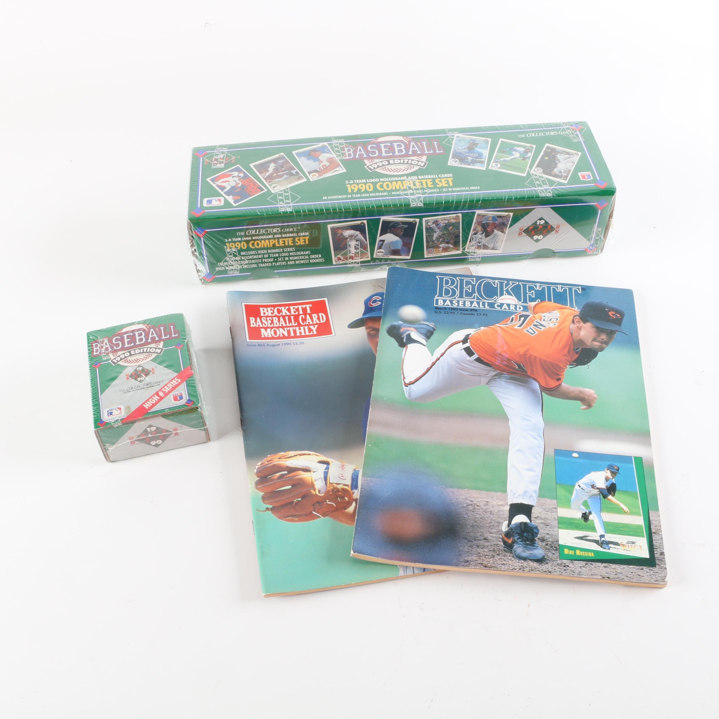 1990 Upper Deck Baseball Cards with 1990s Beckett Magazines