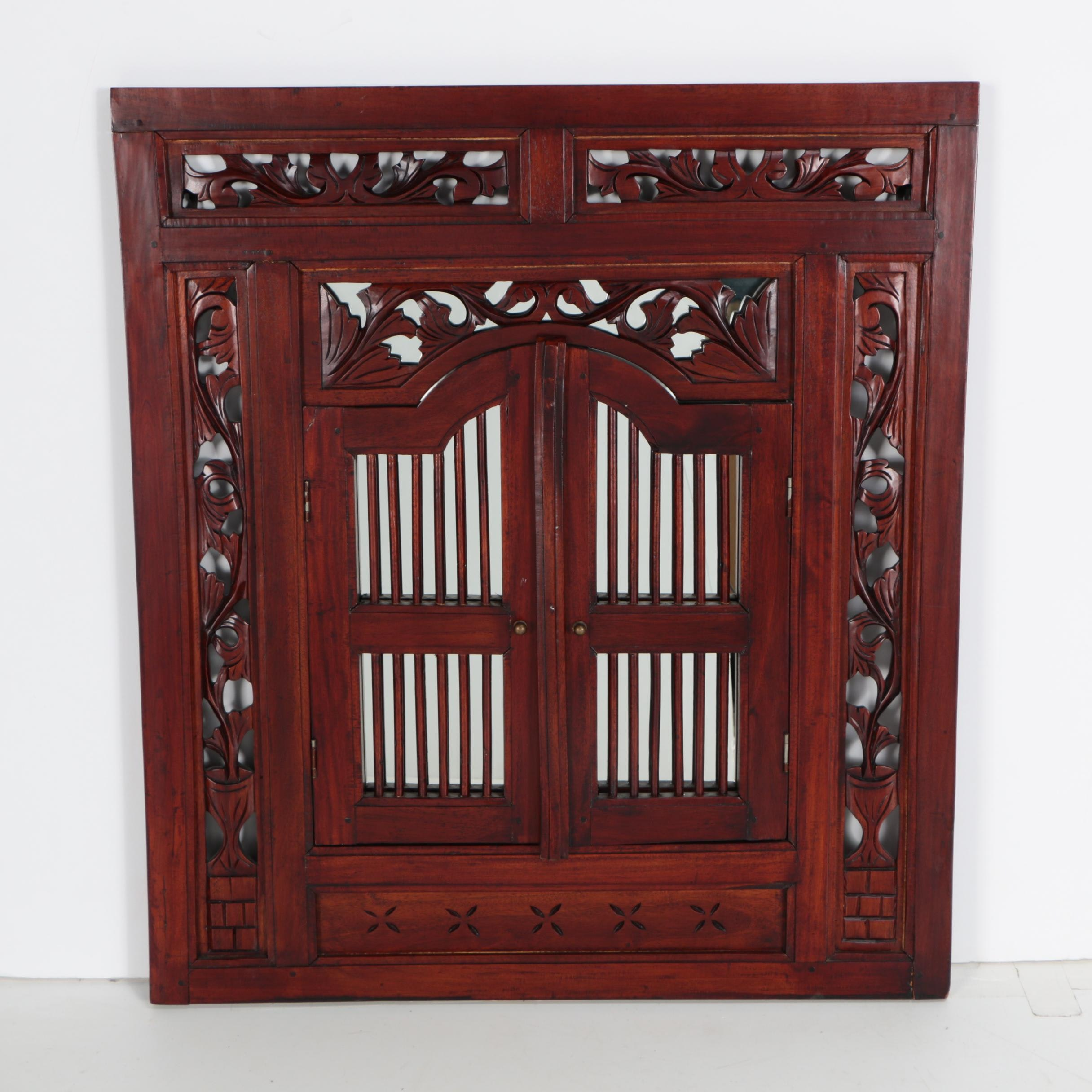 Carved Reticulated Shuttered Wall Mirror