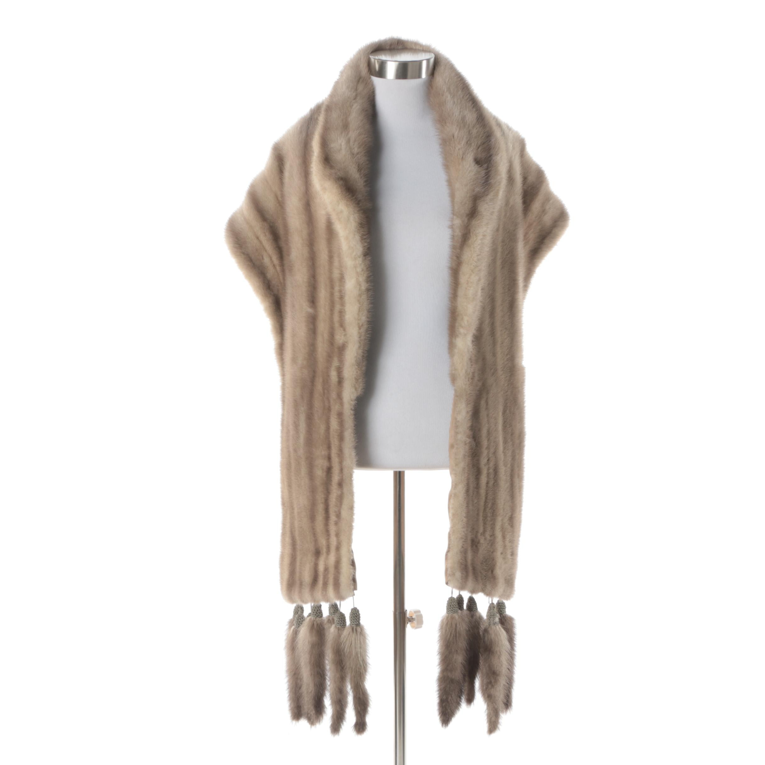 Silver Mink Fur Stole with Detachable Mink Tails