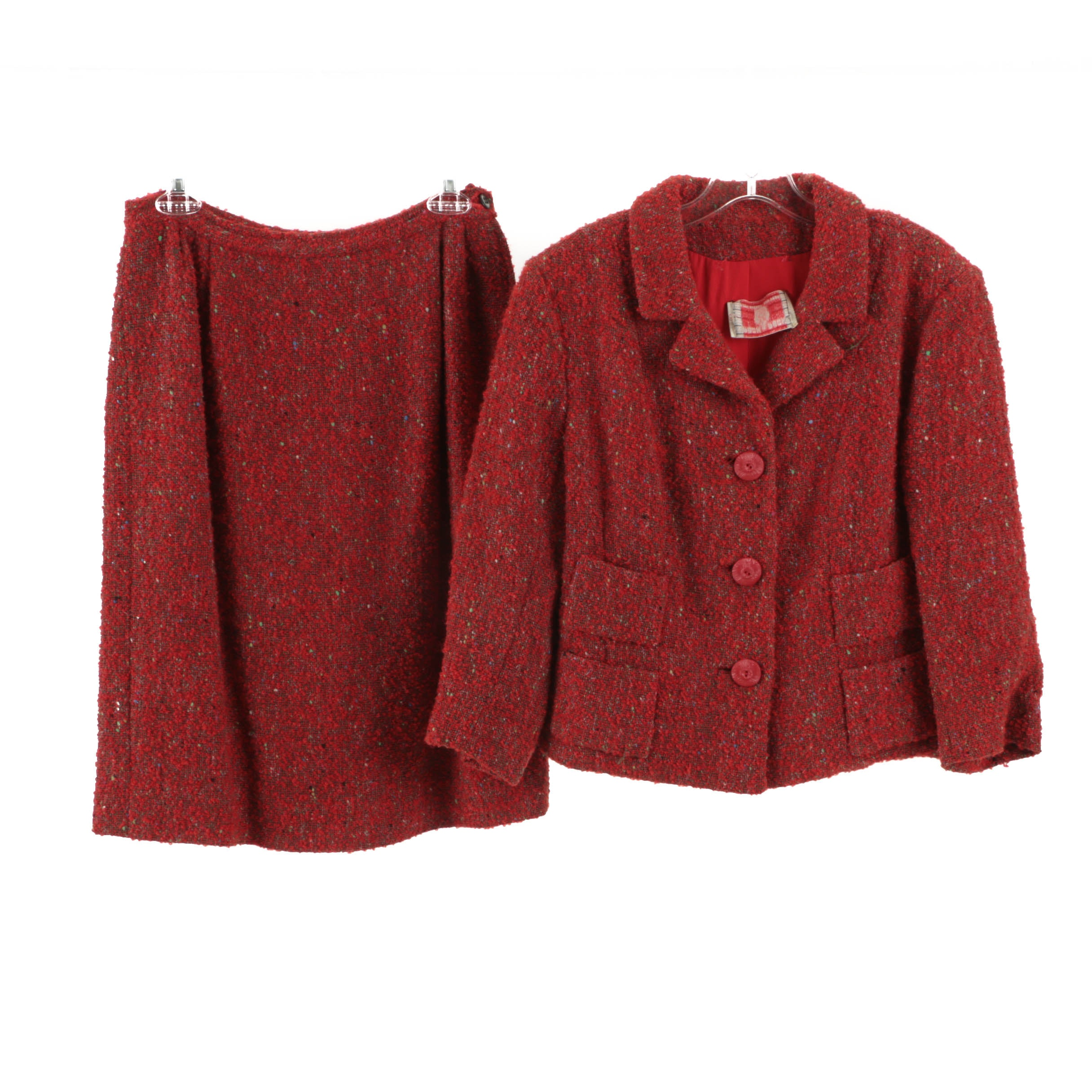 1960s Vintage Peck & Peck Red Bouclé Wool Knit Skirt Suit