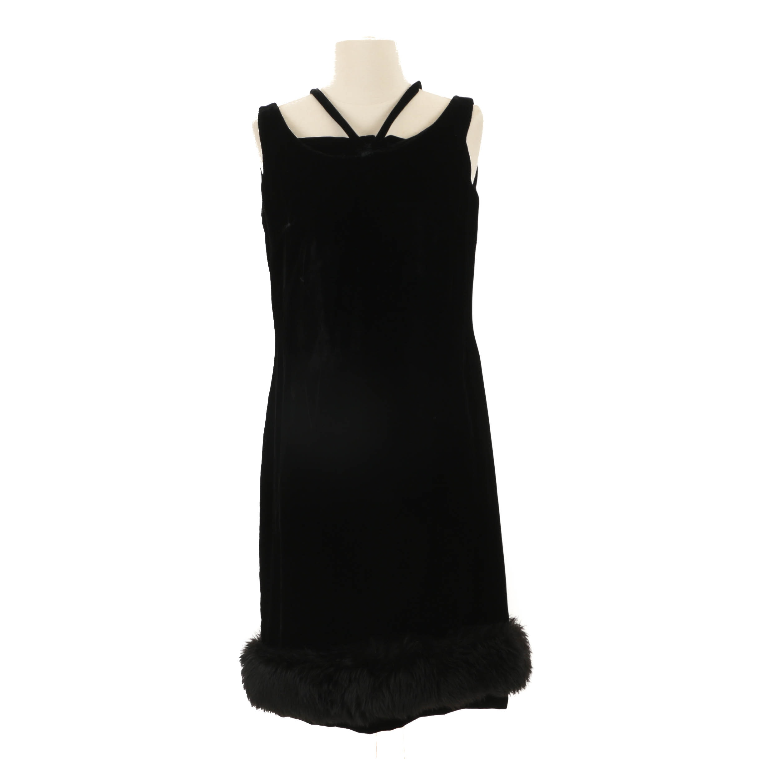 1960s Vintage Alfred Werber Black Velvet Sleeveless Cocktail Dress