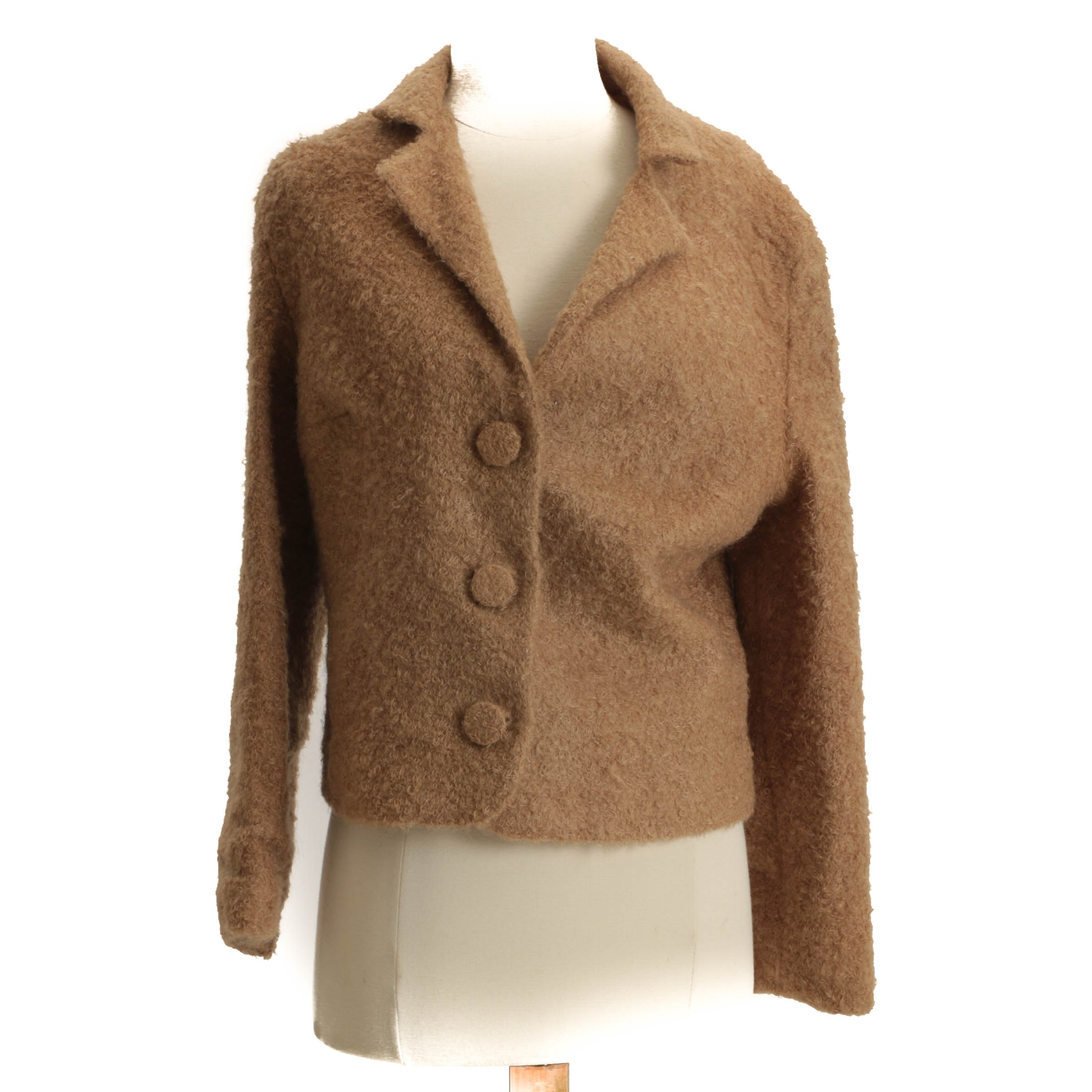 Vintage Camel-Colored Mohair Button-Front Jacket