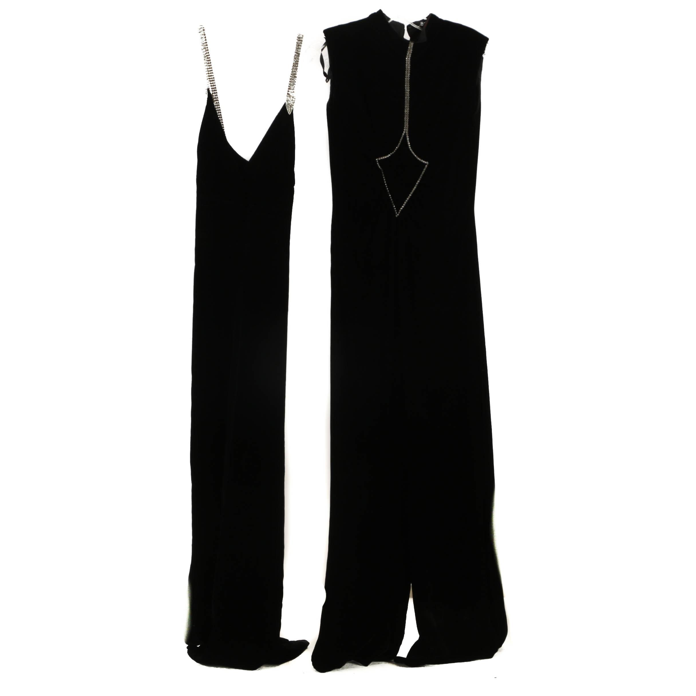 Vintage Black Velvet Evening Gown and Jumpsuit