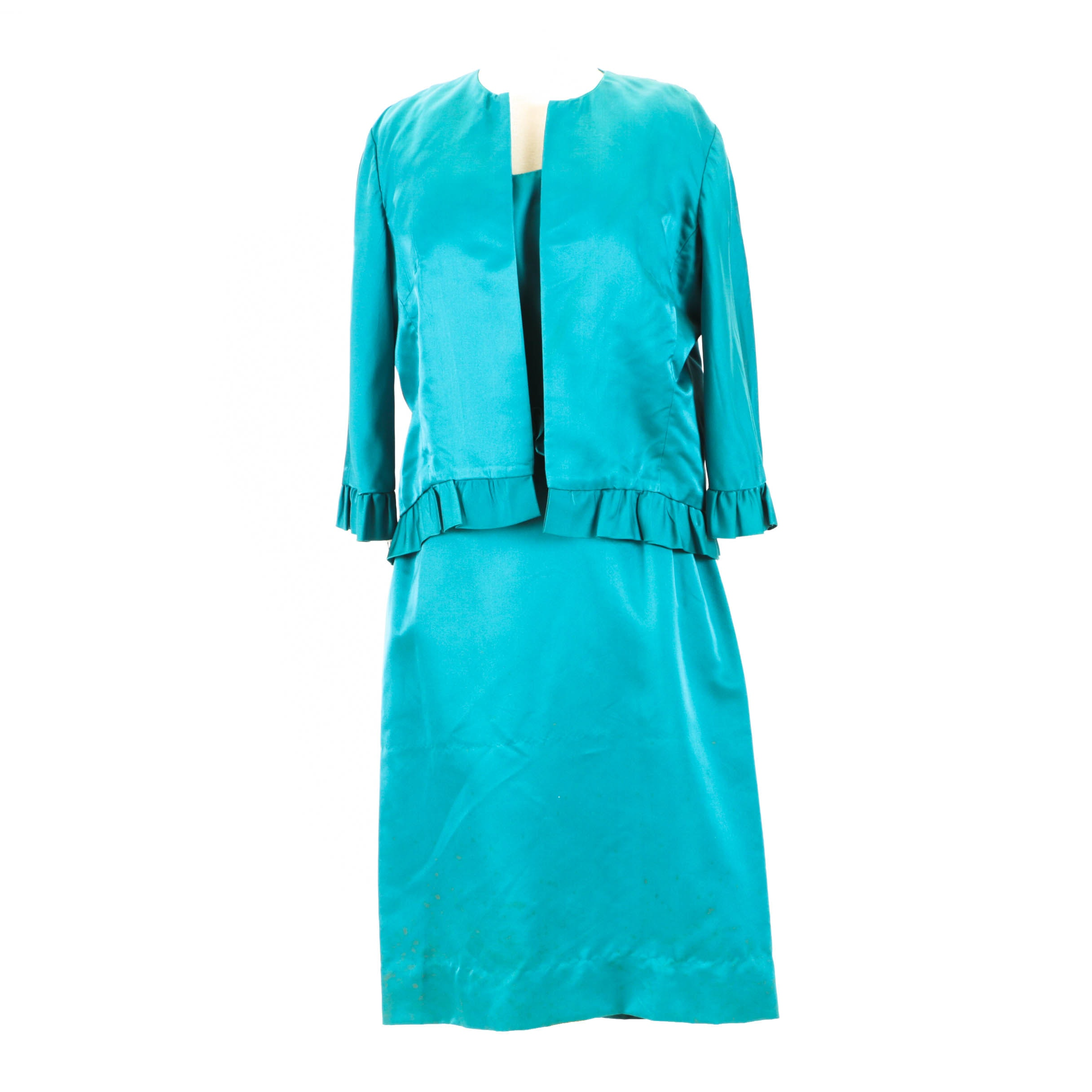 Women's 1960s Vintage Sleeveless Dress and Jacket in Turquoise Blue Satin