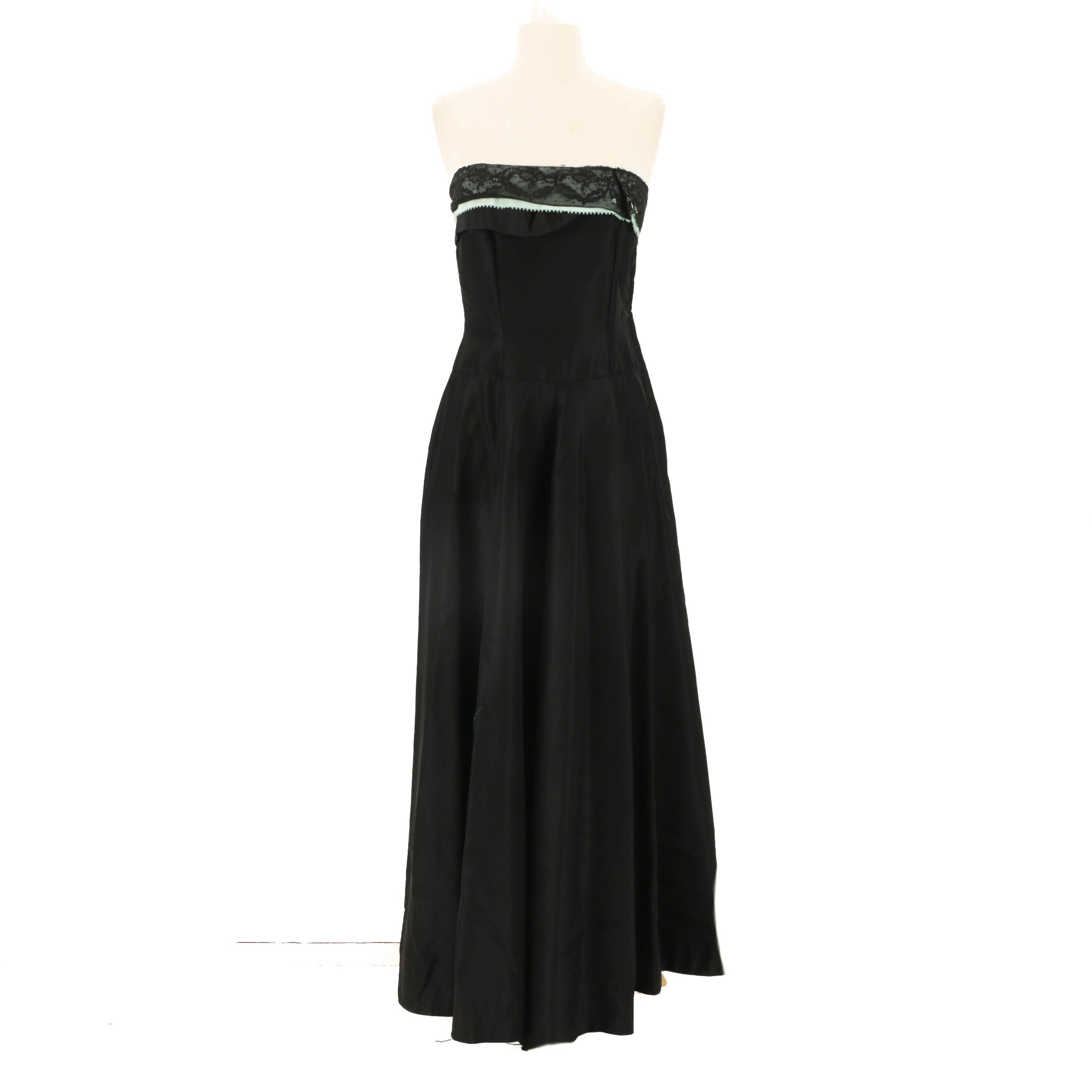 1950s Vintage Black Strapless Gown with Mint Green and Black Lace Accent