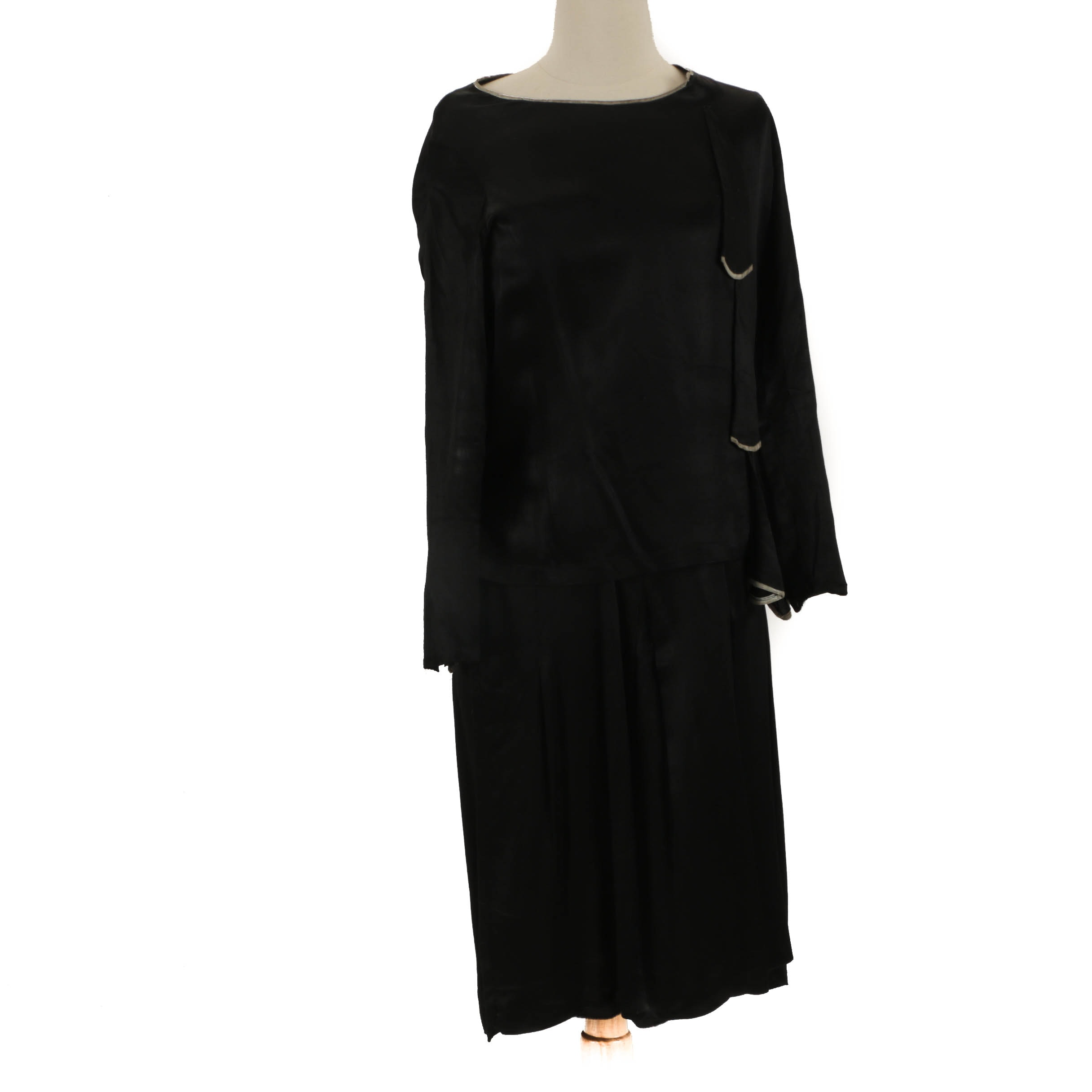 1920s-30s Vintage Black Satin Dress
