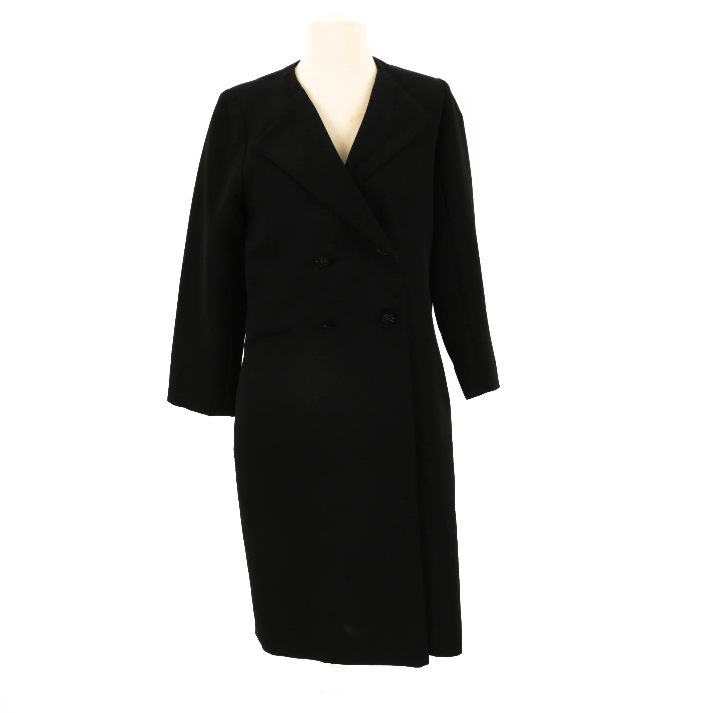 Women's Vintage Gidding Jenny Black Double-Breasted Coat