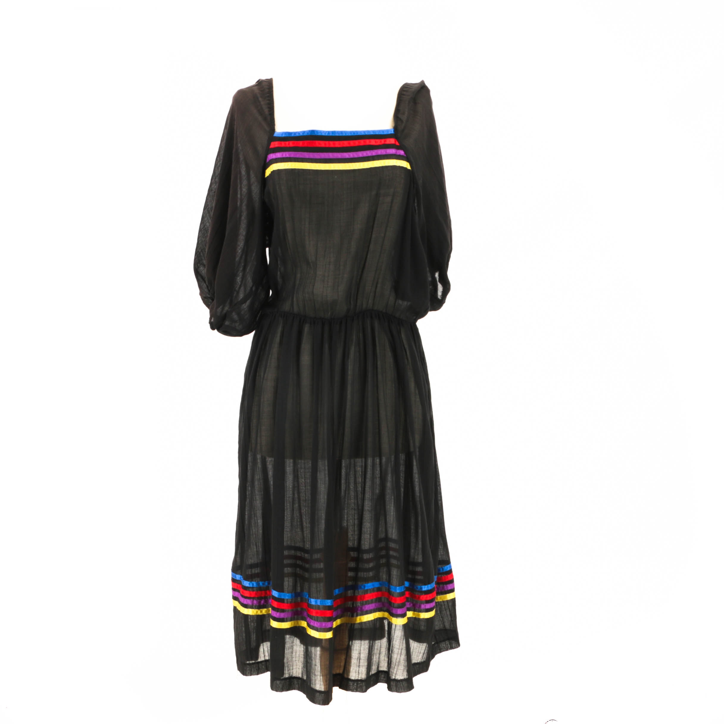 1970s Vintage Peasant Dress