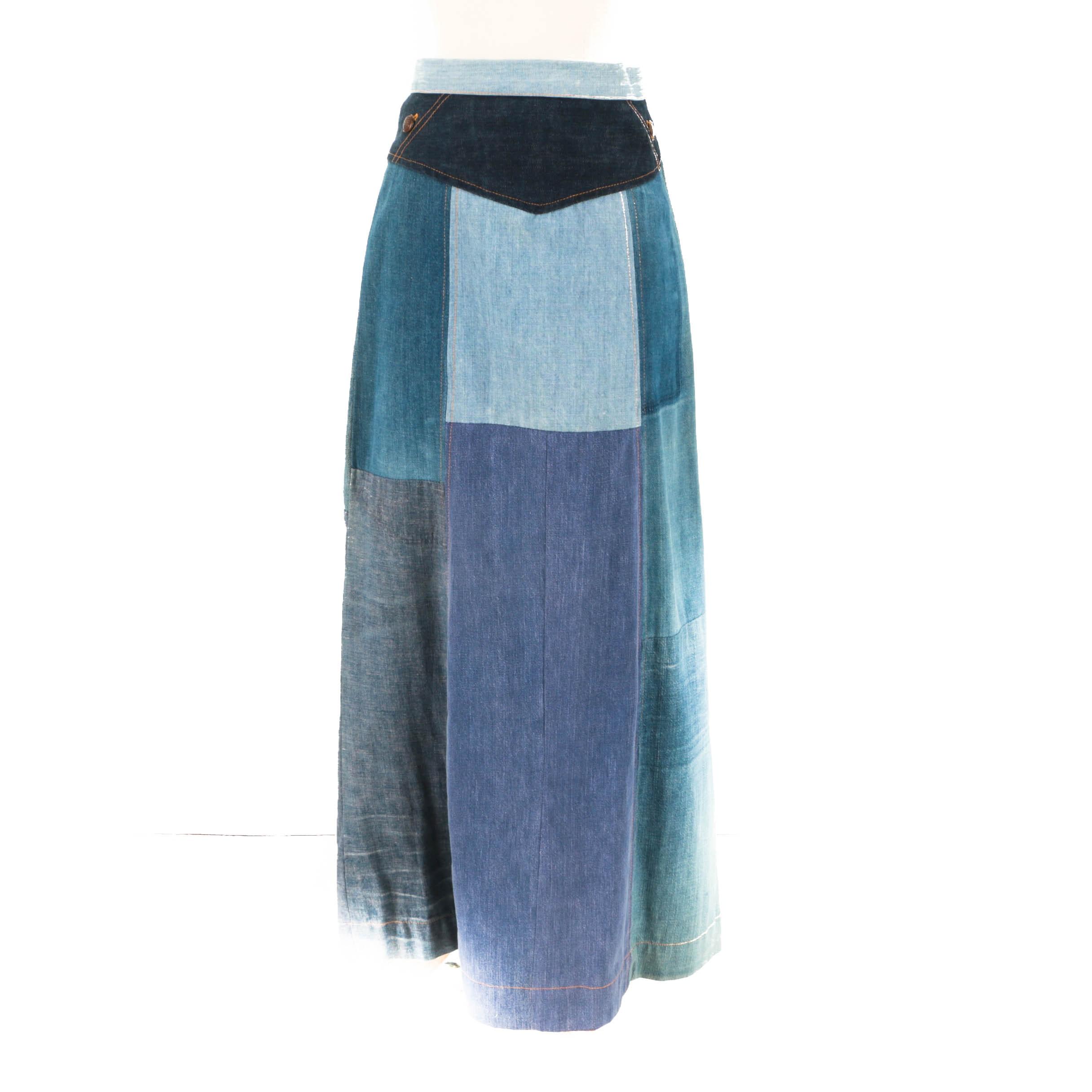1970s Vintage Patchwork Denim Skirt