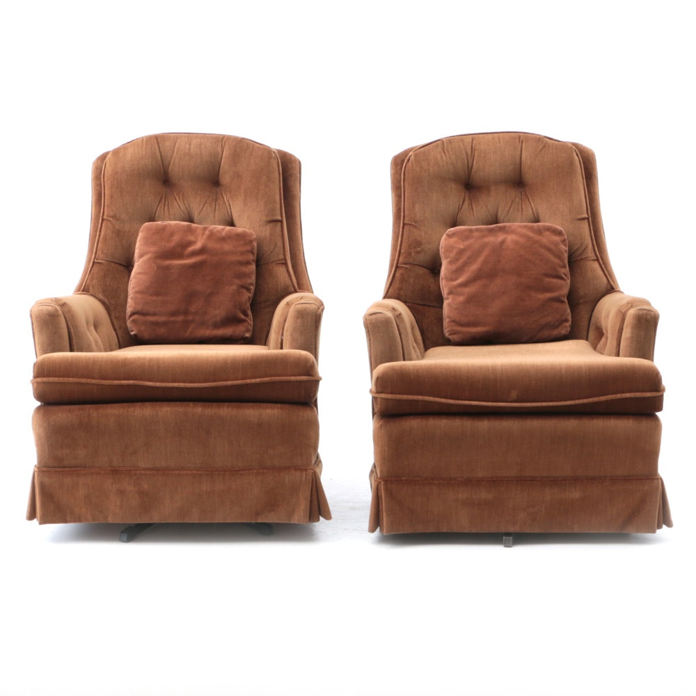 Pair of Brown Velvet Rocking Lounge Chairs