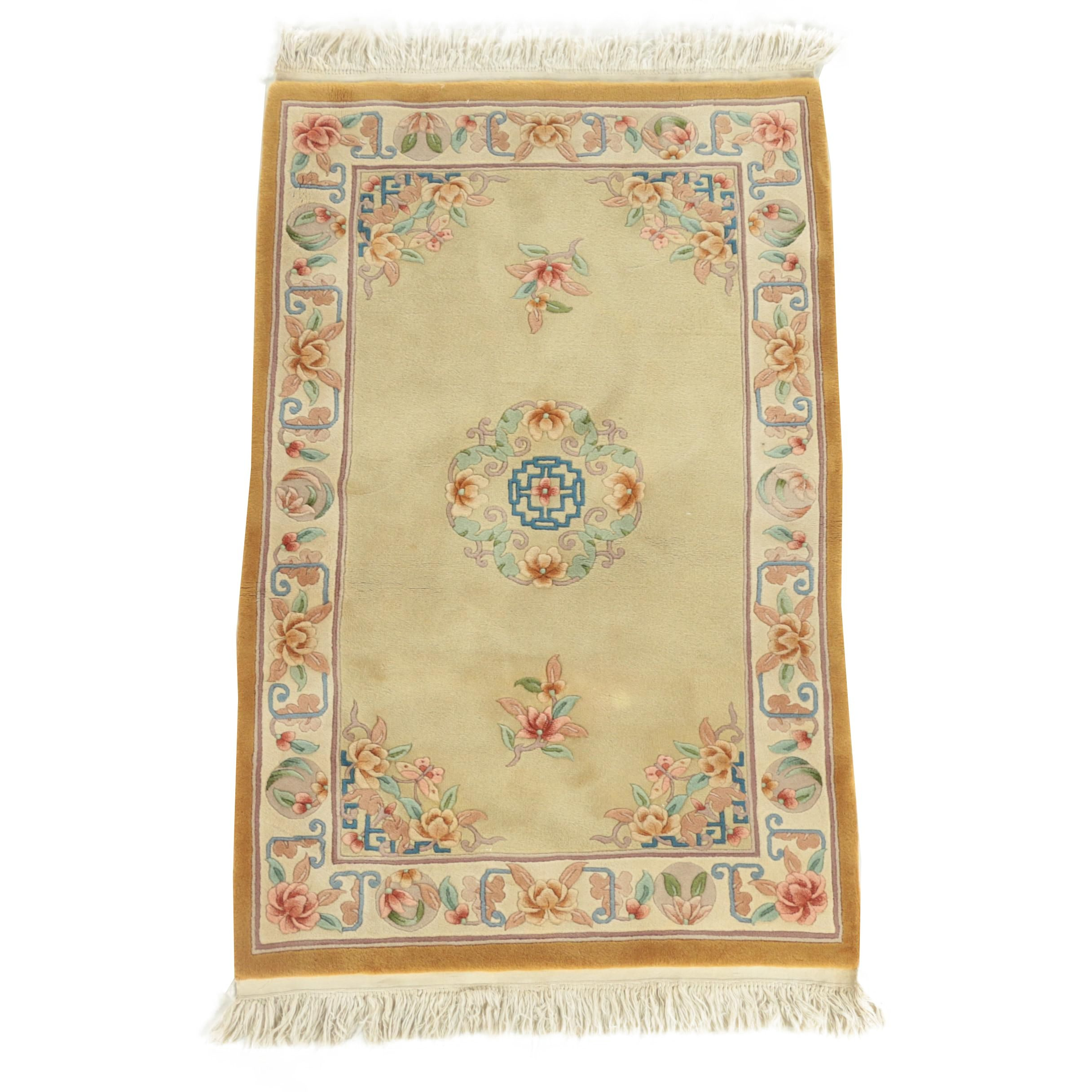 Hand-Knotted Chinese Medallion Carved Wool Accent Rug