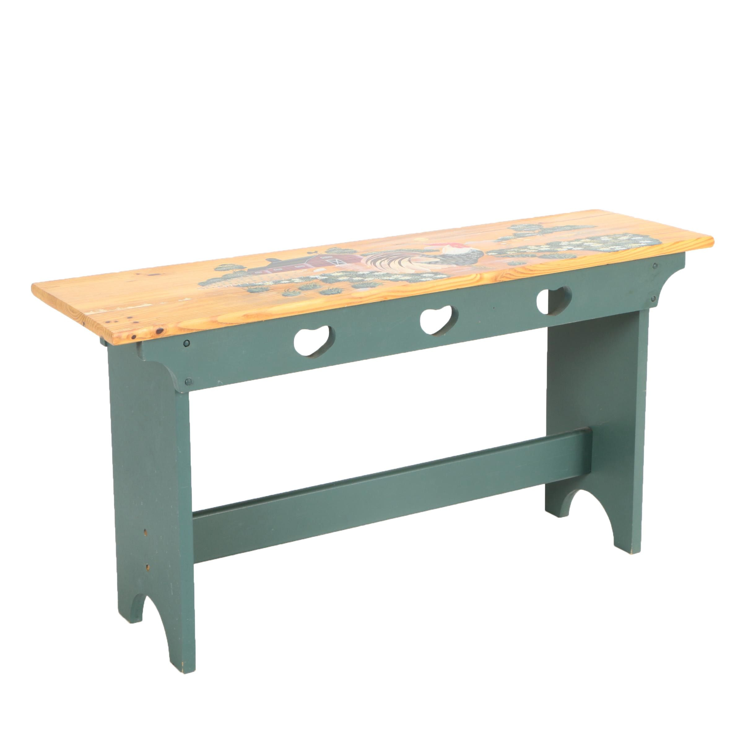 Country Style Painted Bench with Rooster and Barn Motif