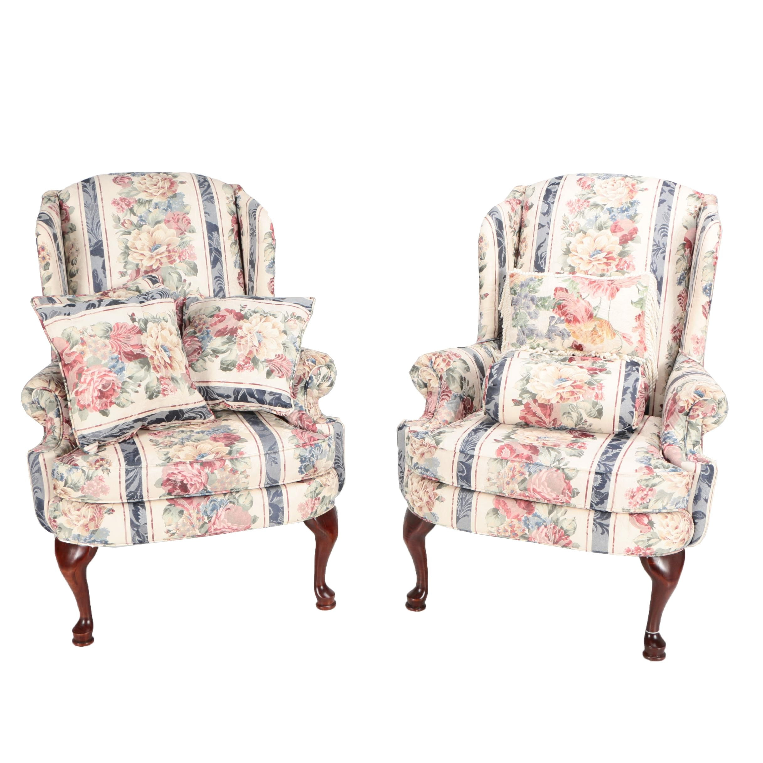 Queen Anne Style Upholstered Wingback Armchairs by Broyhill