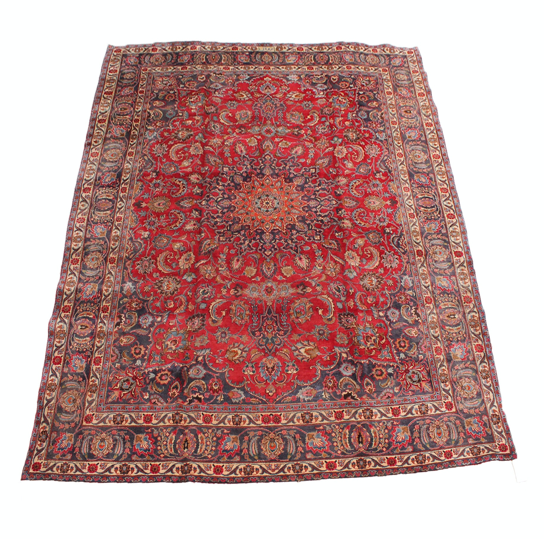 Vintage Hand Knotted Persian Mashad Room Size Rug Signed Yaszdani