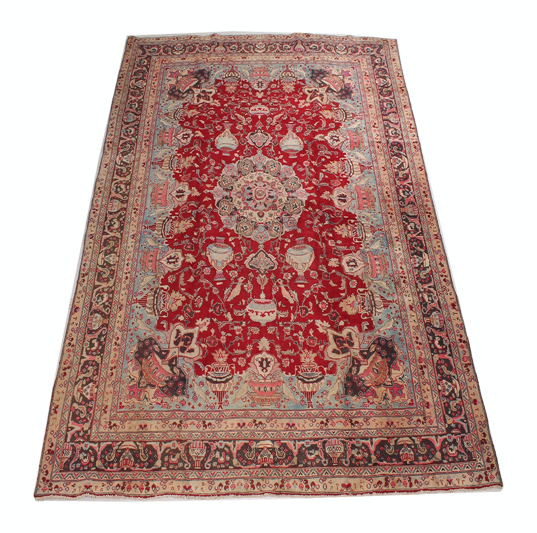 Vintage Hand Knotted Persian Pictorial Kashmar Room Size Rug