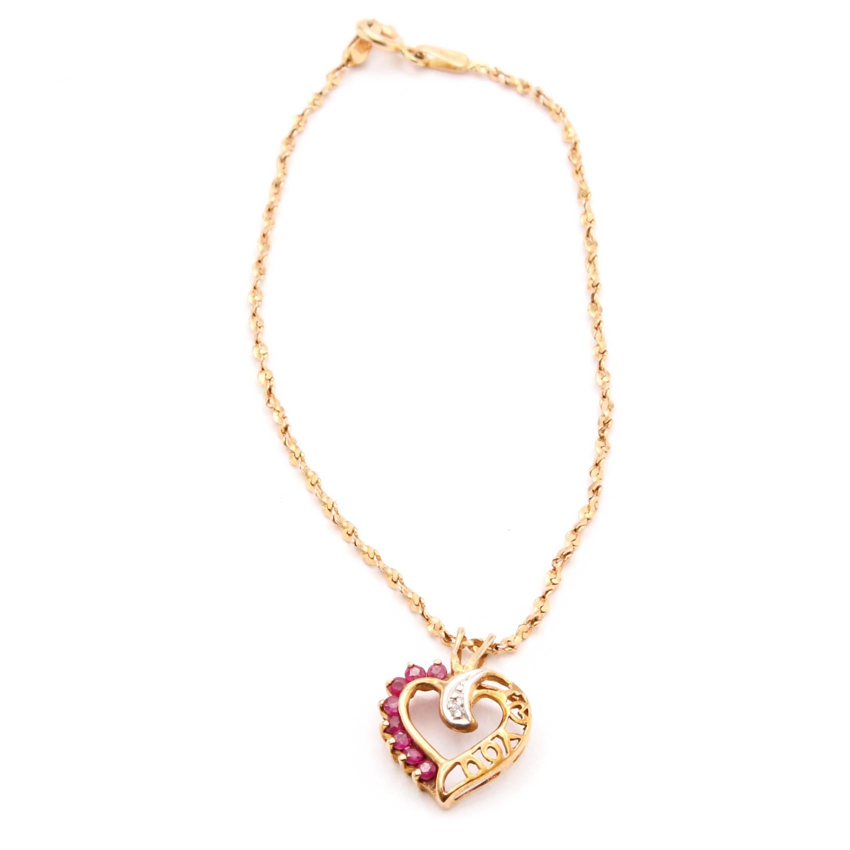 14K Gold Bracelet with 10K Gold, Ruby, and Diamond Pendant