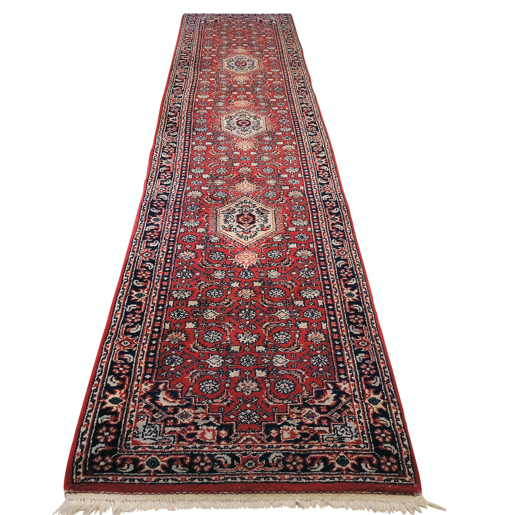 Hand-Knotted Indo-Persian Bijar Carpet Runner