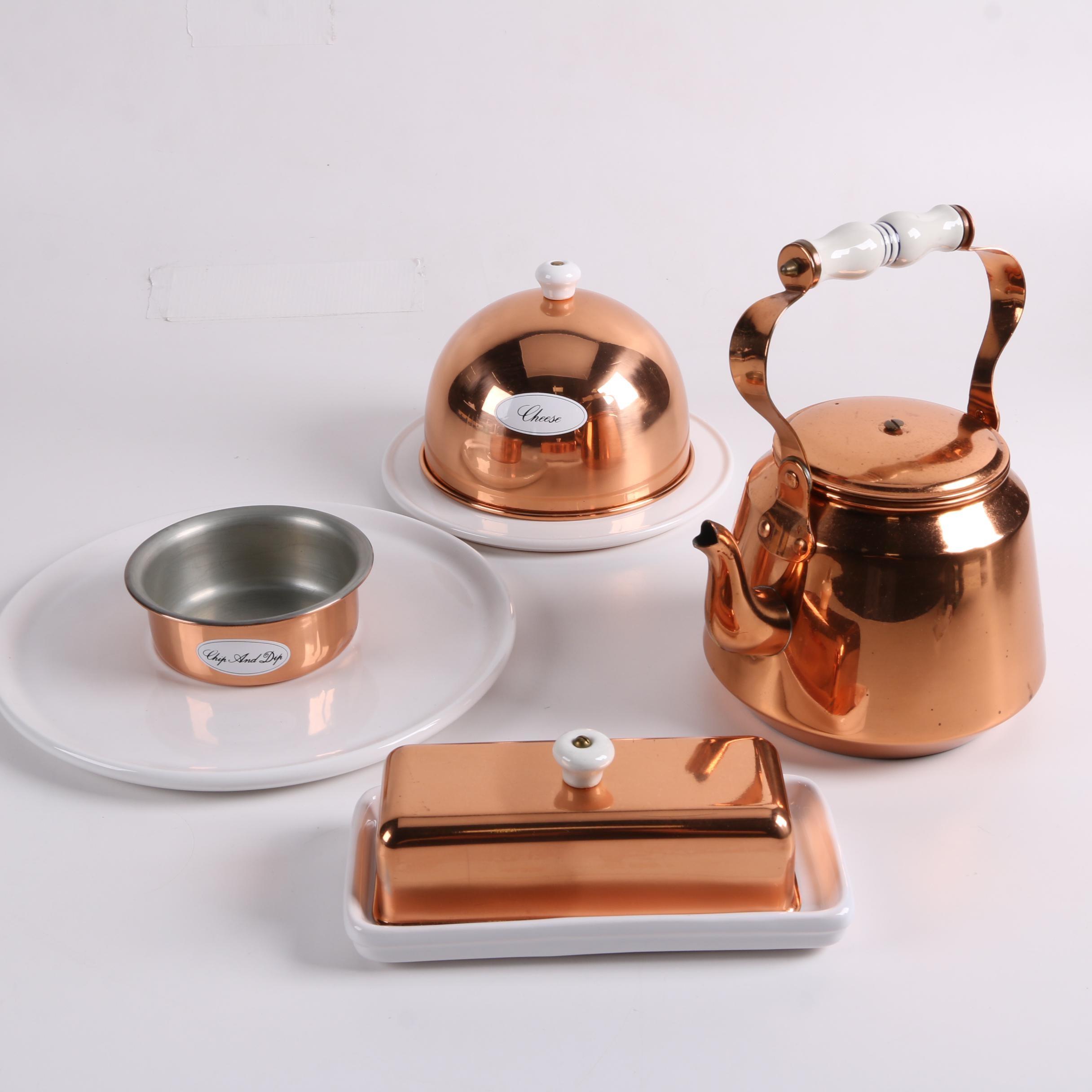 Portuguese Copper and Stoneware Serveware Featuring Metalutil