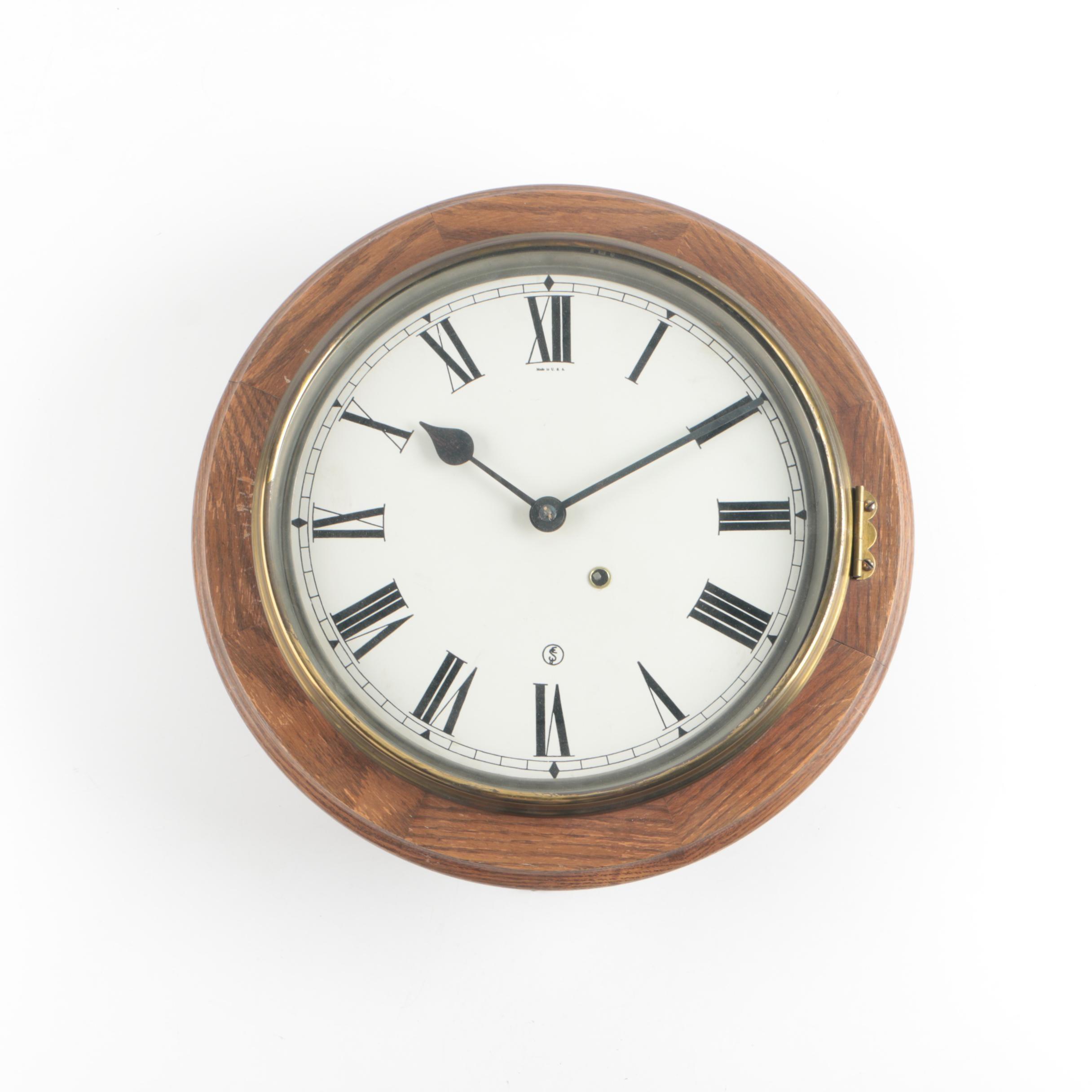 Circa 1920 Seth Thomas Oak Gallery Style Wall Clock