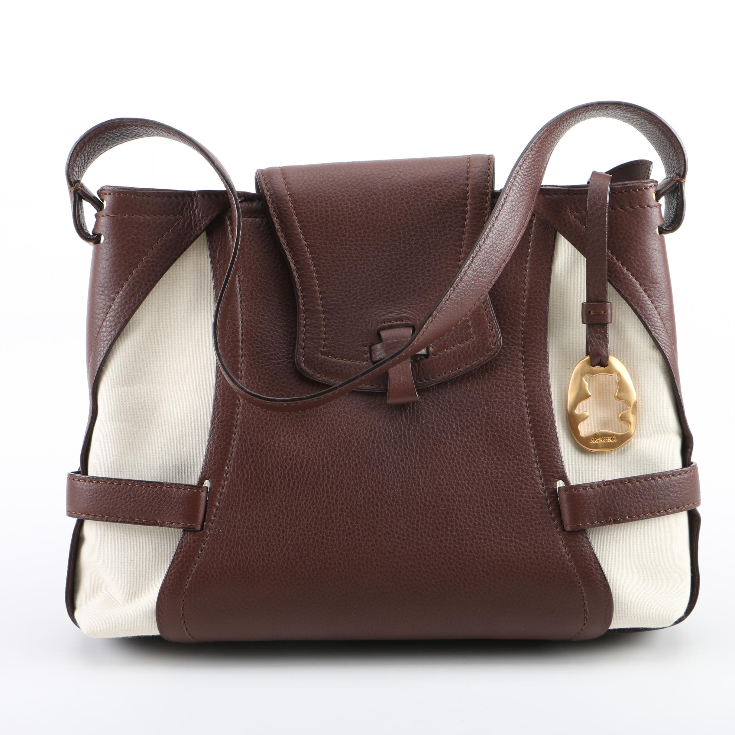 Agnona Off-White Canvas and Brown Leather Handbag