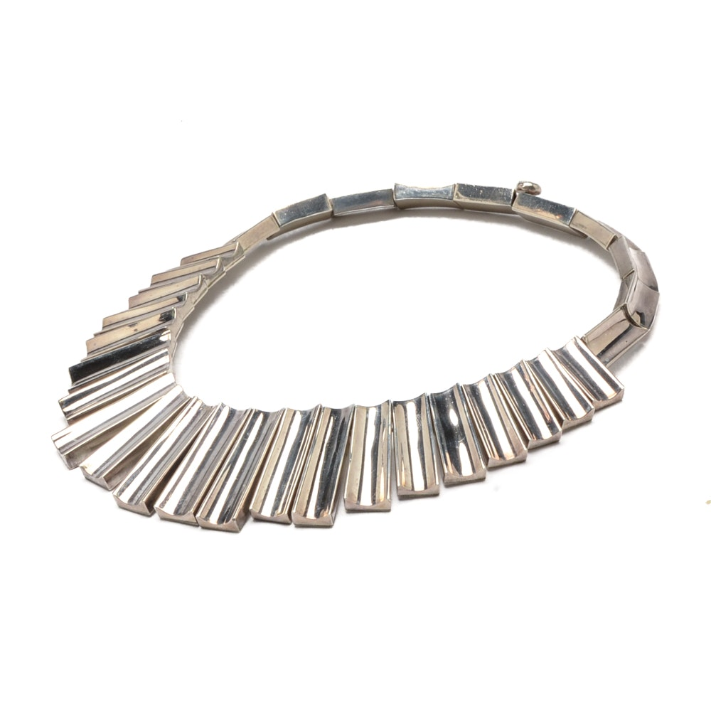 Modernist Sterling Silver Choker Necklace from Mexico