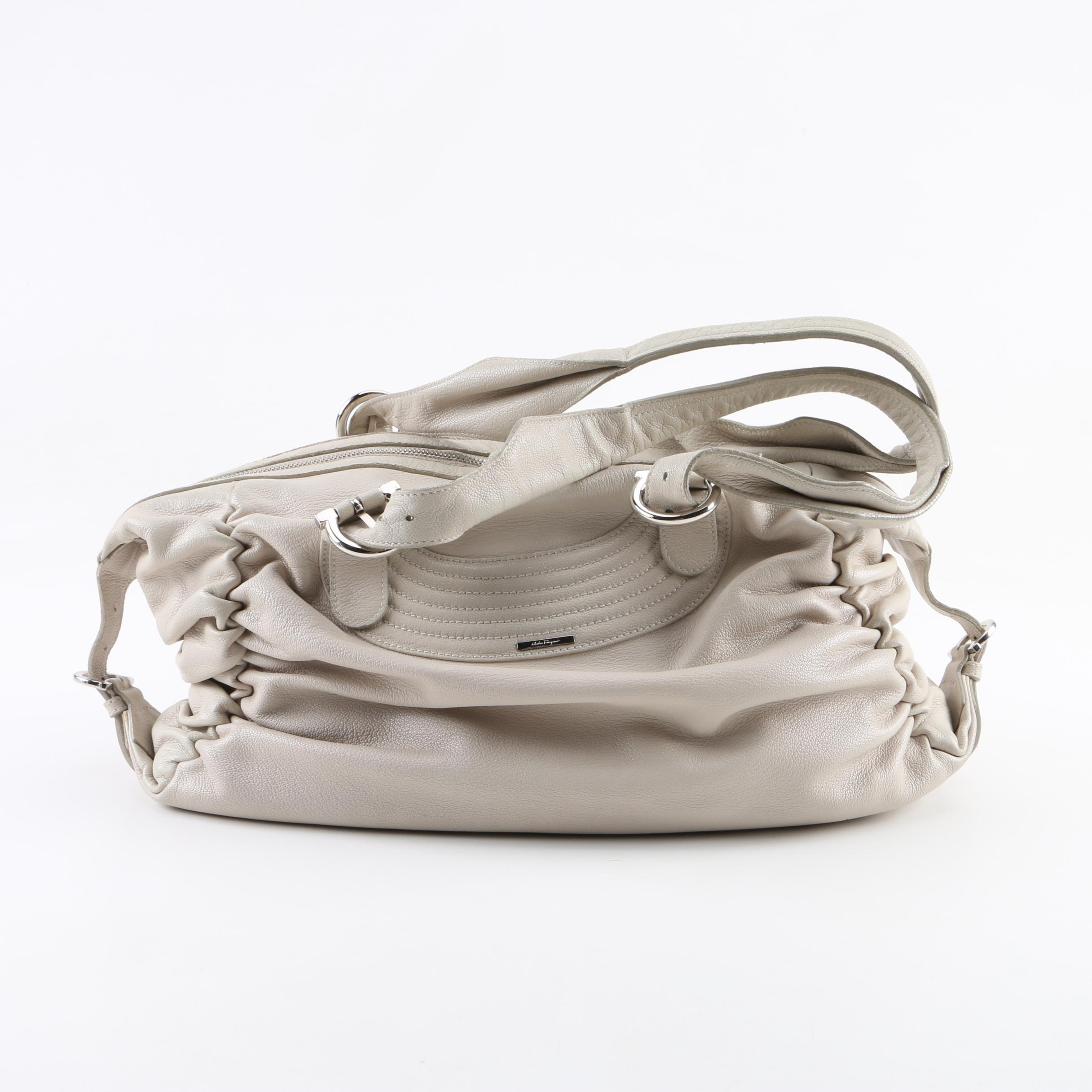 Salvatore Ferragamo Cream Leather Shoulder Bag