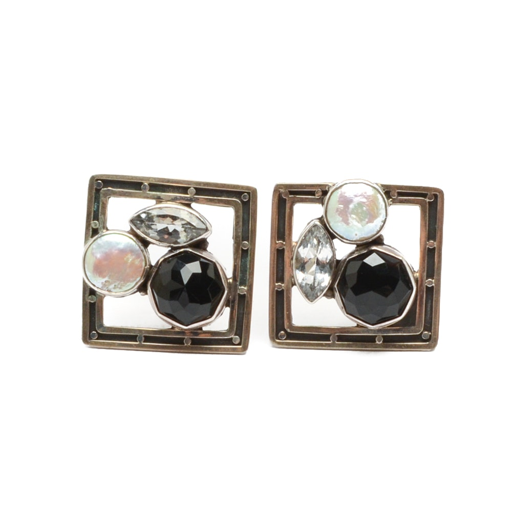 Echo of the Dreamer Black Onyx with Cultured Pearl and Sapphire Clip Earrings