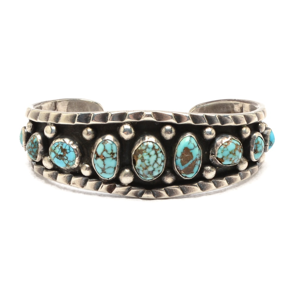 Handcrafted Southwestern Style Sterling Silver and Turquoise Cuff Bracelet