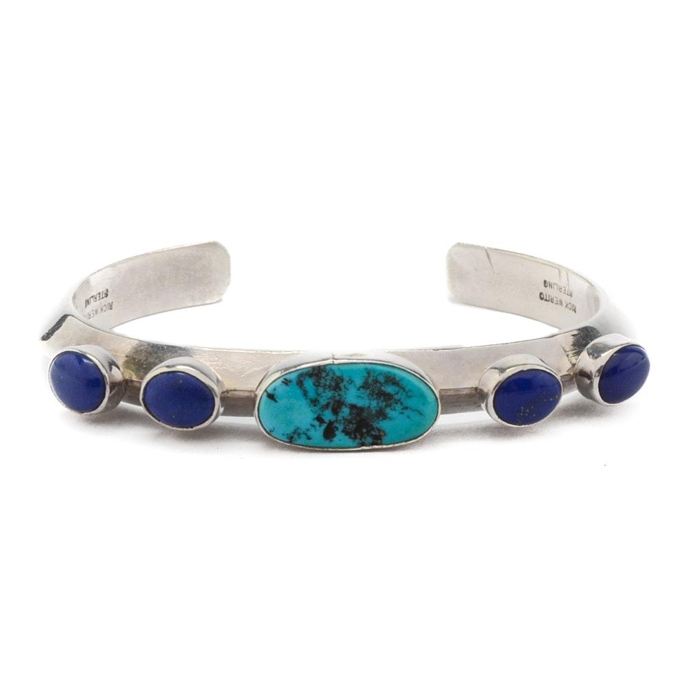 Rick Werito Navajo Diné Sterling Silver and Gemstone Cuff Bracelet