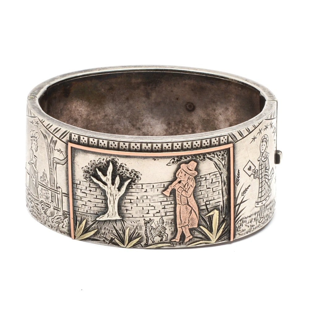 Silver Plate Hinged Cuff Bracelet Attributed to Richard Loewe Henry