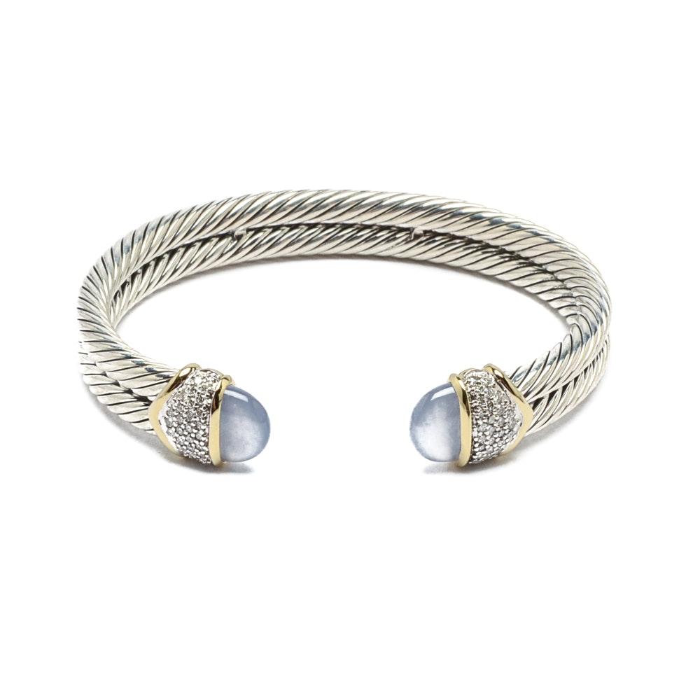 David Yurman Sterling Silver and 18K Gold Diamond Cable Bracelet