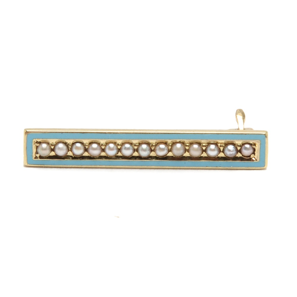 Antique 14K Yellow Gold Seed Pearl and Enamel Pin