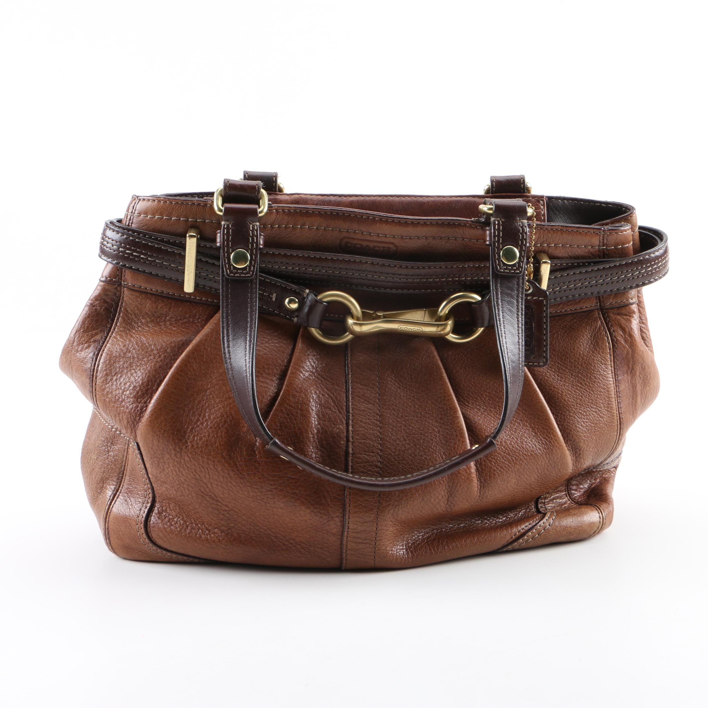 Coach Two-Tone Brown Leather Hampton Carryall