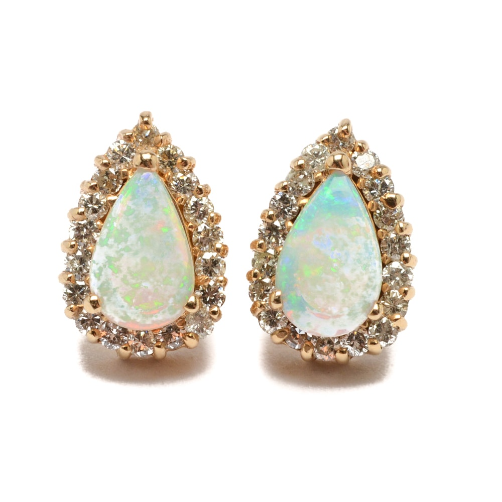 14K Yellow Gold Opal Earrings with Diamond Accents