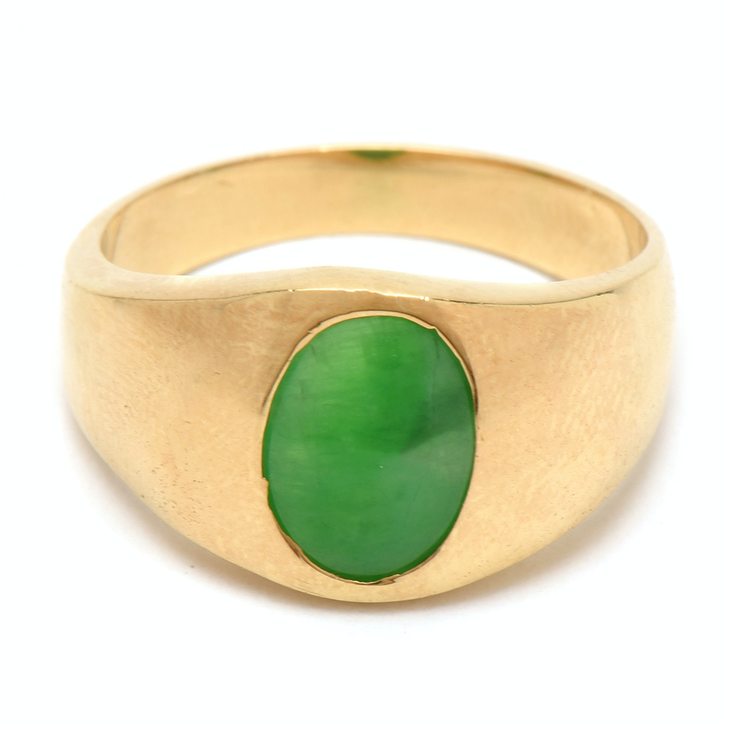 18K Yellow Gold Gypsy Set Dyed Jadeite Ring