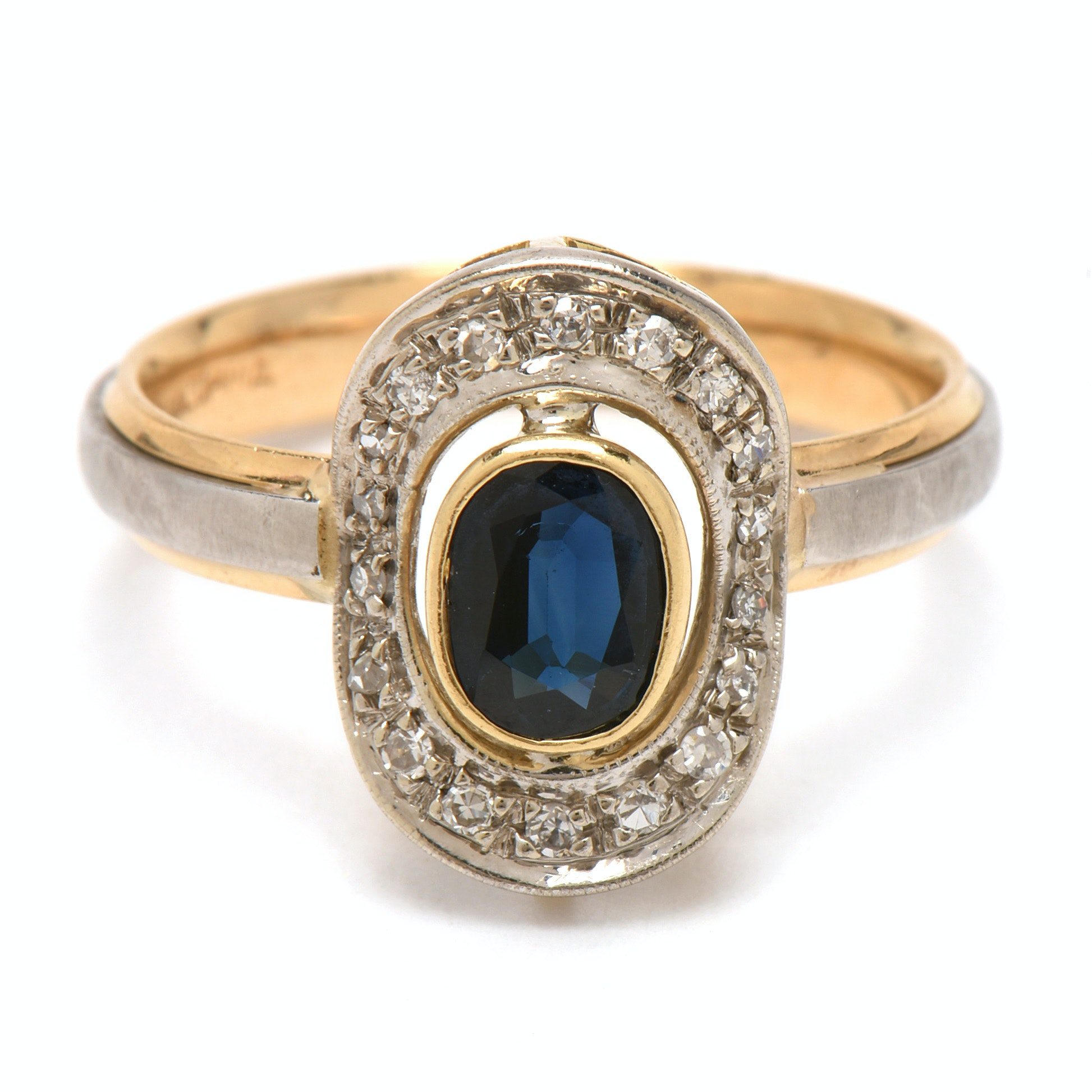 14K Yellow Gold with Platinum Blue Sapphire and Diamond Ring