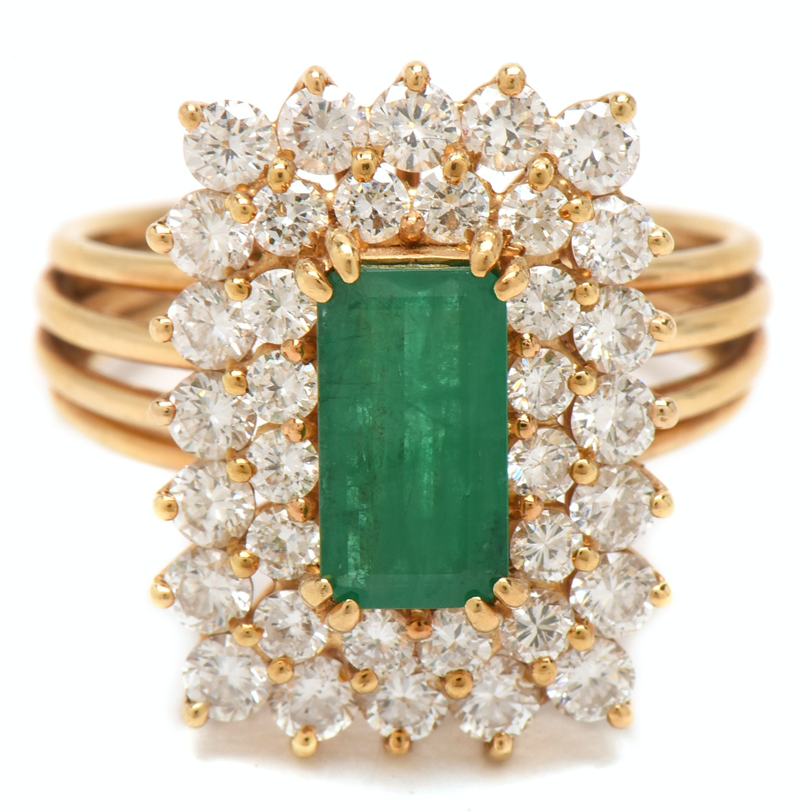 18K Yellow Gold 1.14 Carat Emerald and 1.95 CTW Diamond Cocktail Ring