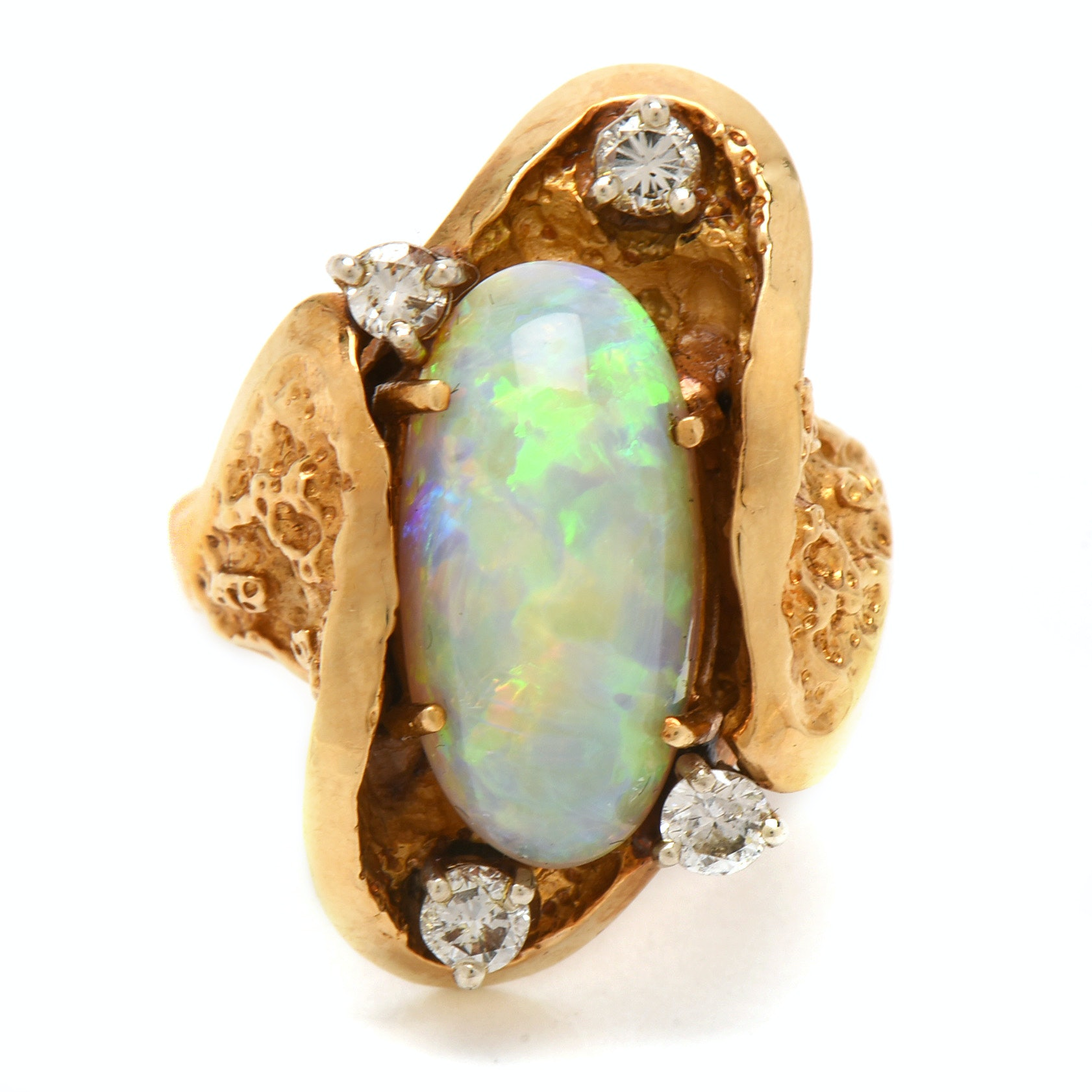 Brutalist 18K Yellow Gold Opal and Diamond Statement Ring