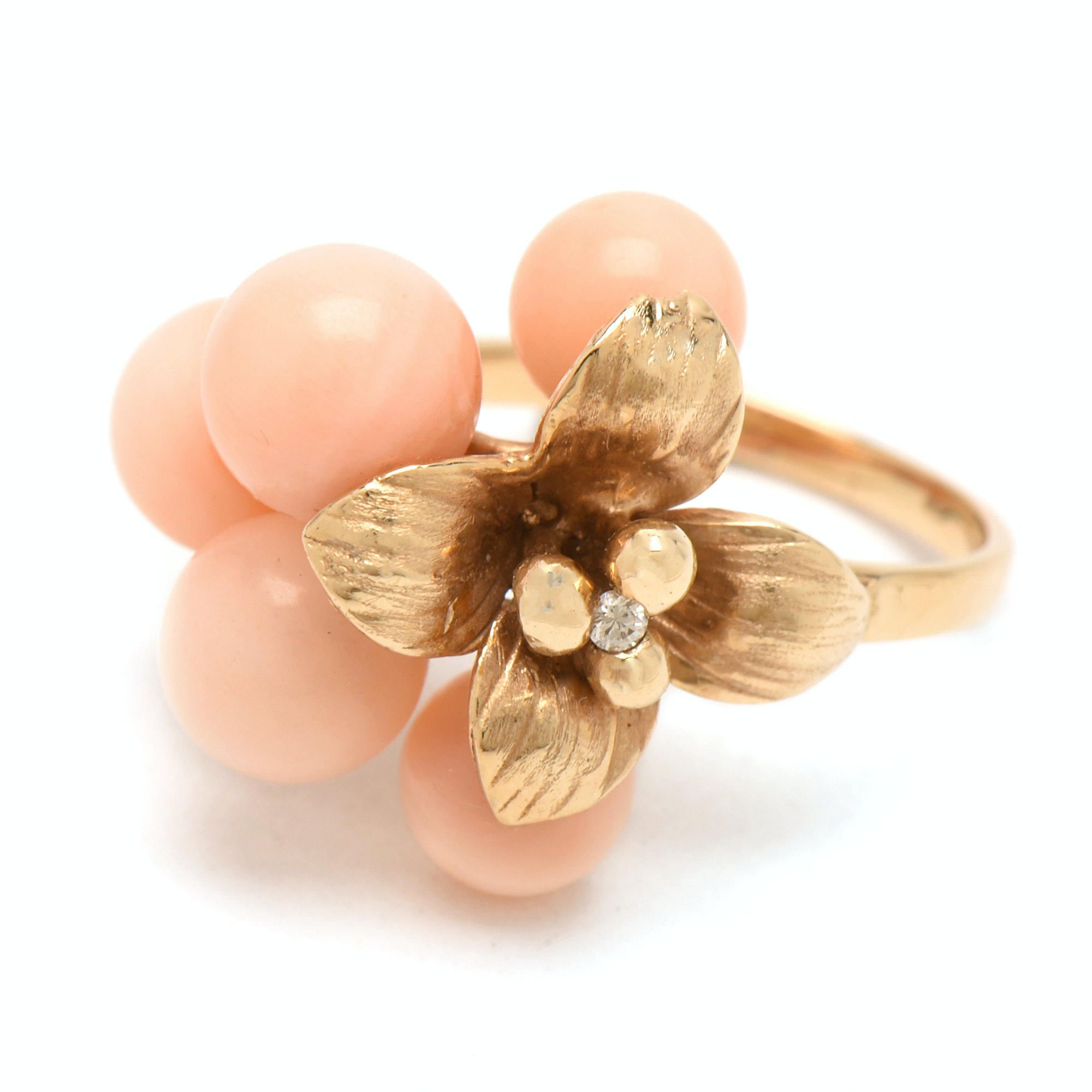 14K Yellow Gold Floral Ring with Coral Beads and Diamond