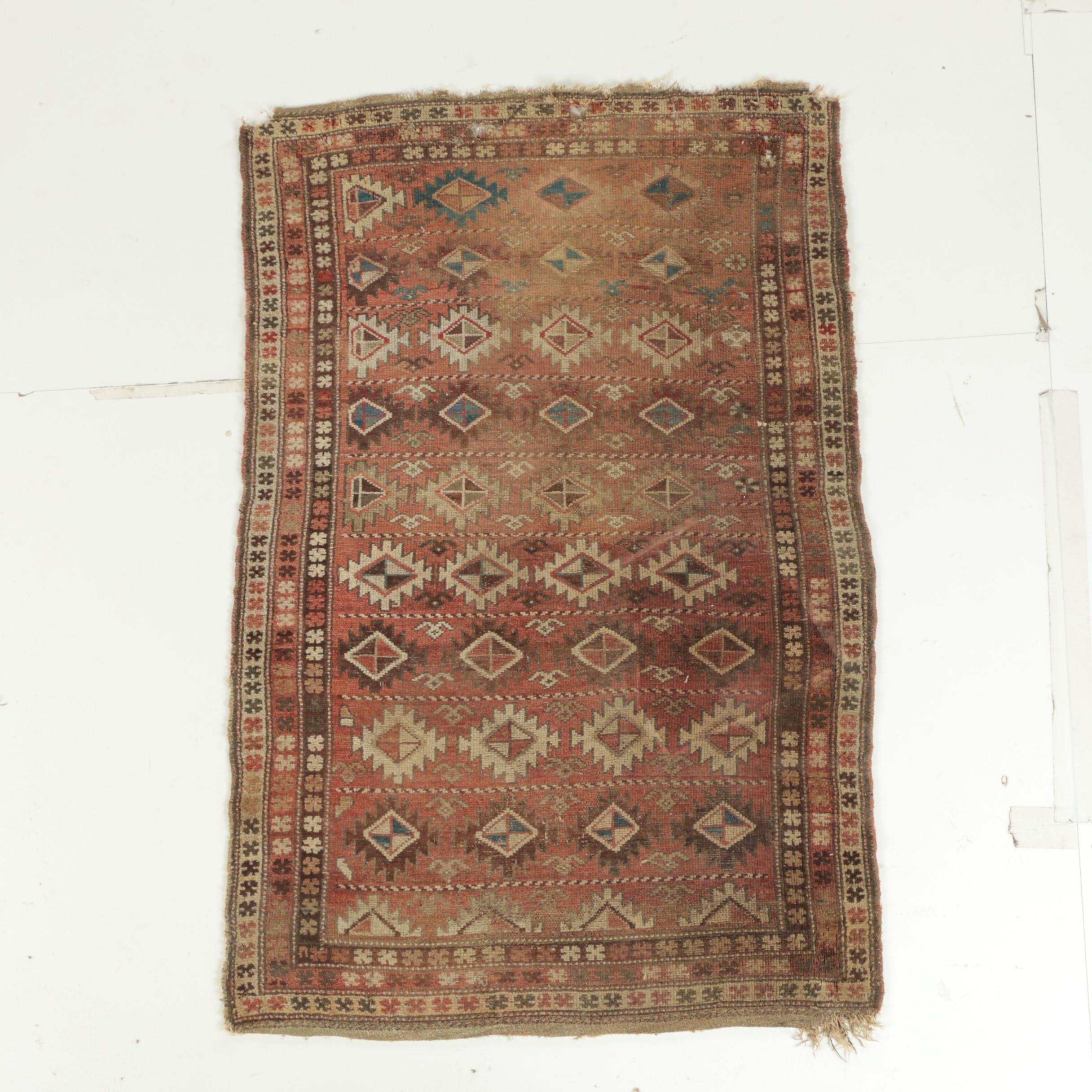 Antique Hand-Knotted Persian Veramin Accent Rug