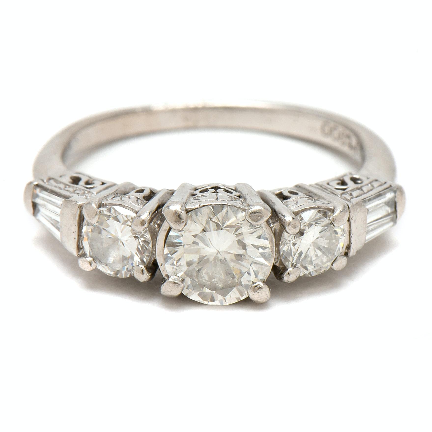 Platinum and 1.33 CTW  Diamond  Engagement Ring