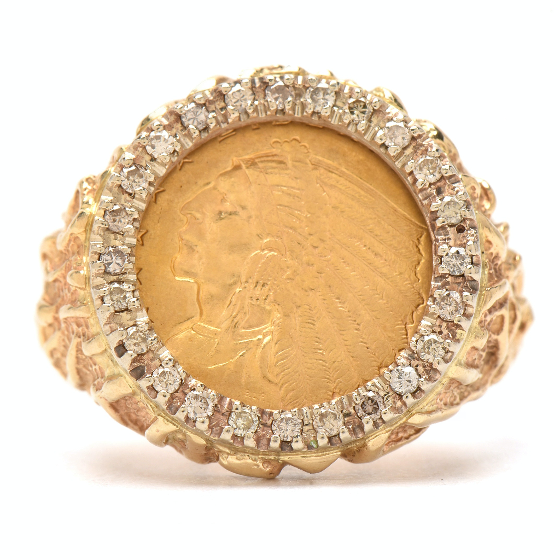1909 Indian Head $2.50 Gold Quarter Eagle Coin in 14K Yellow Gold Diamond Ring